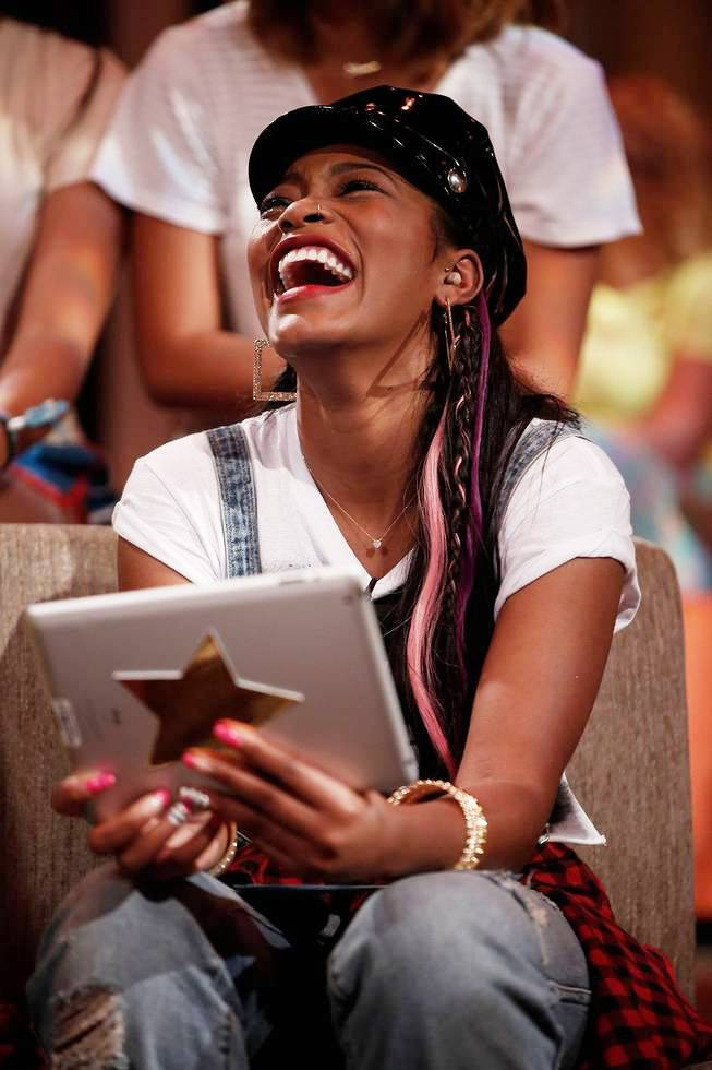Keke Kicks Back and Has a Special Chat on Her iPad - (Photo: Tyler Golden/PictureGroup)