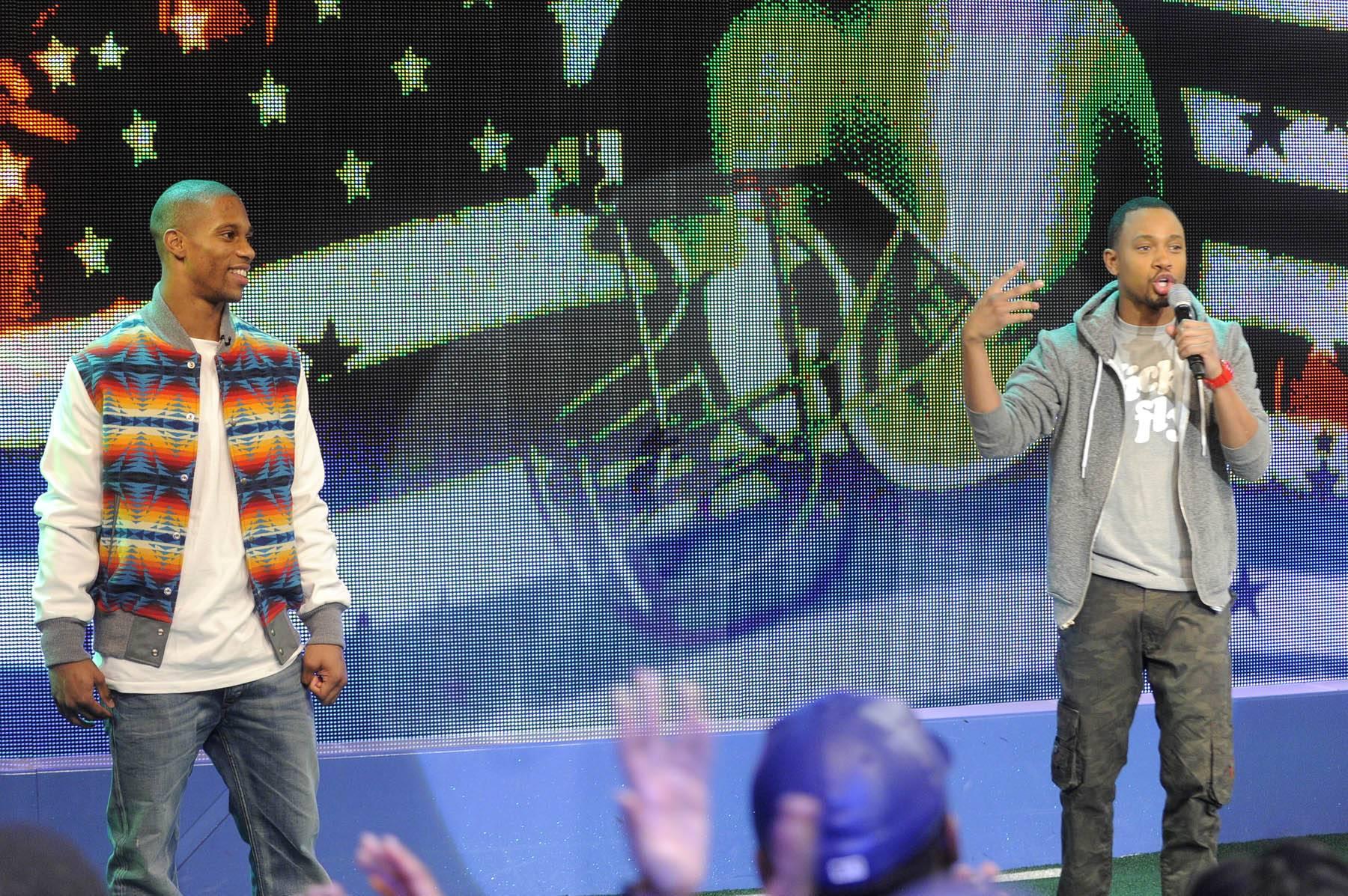 Get Set - Terrence J announces the salsa dance-off between Victor Cruz and Rocsi Diaz at 106 & Park, January 26, 2012. (Photo: John Ricard / BET)