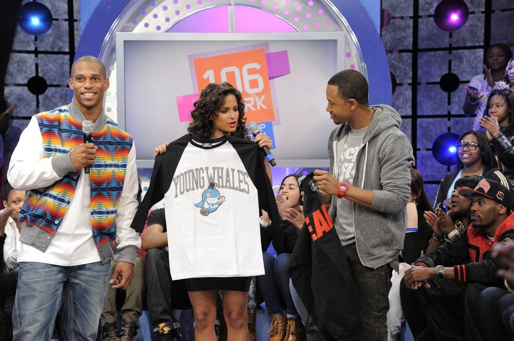 Check Out the Gear - Victor Cruz of the New York Giants visits 106 & Park. (Photo: John Ricard / BET)