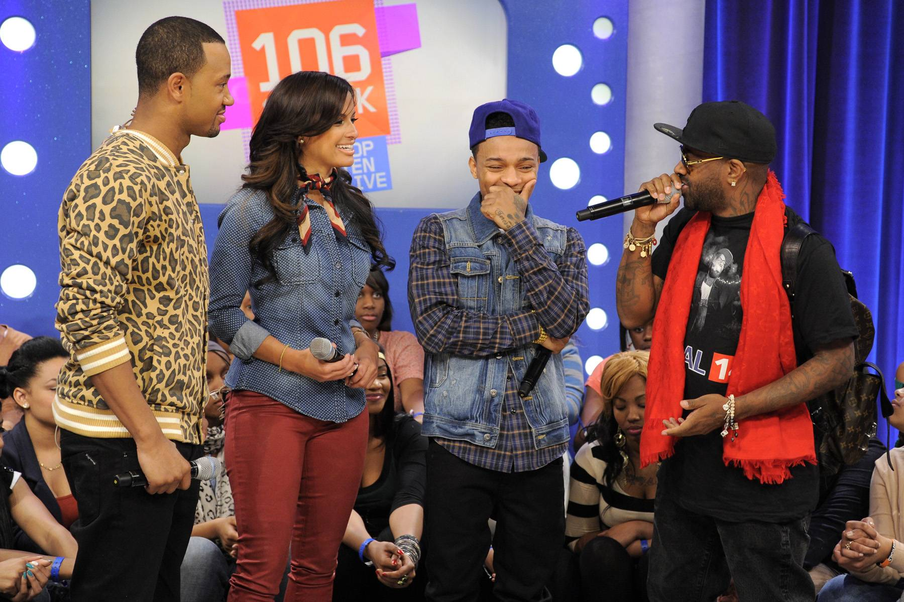 Oh Yeah - Bow Wow blushes as Jermaine Dupree tells Terrence J and Rocsi Diaz of their first meeting, at 106 & Park, January 23, 2012. (Photo: John Ricard / BET)