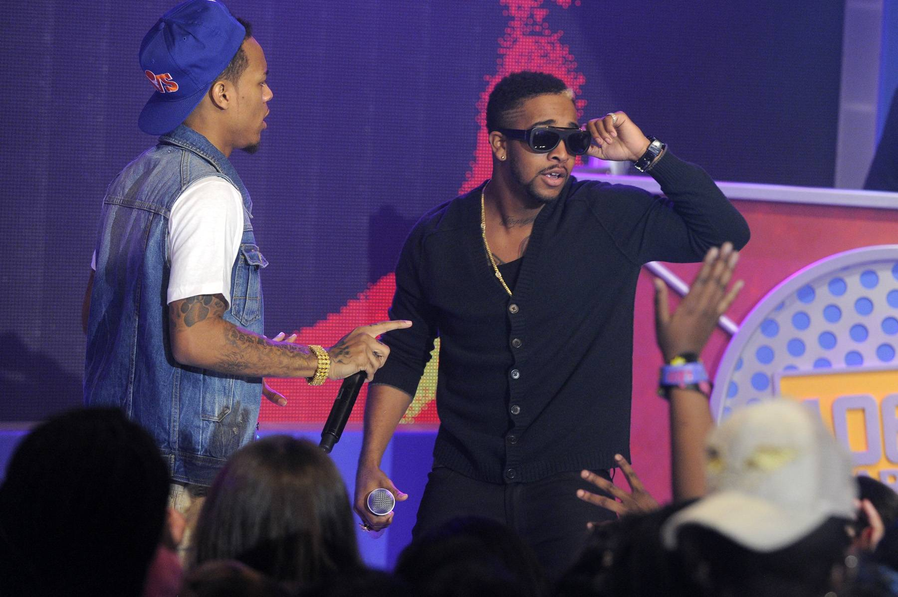 Back at It\r - Bow Wow and Omarion perform at 106 & Park, January 23, 2012. (Photo: John Ricard / BET)