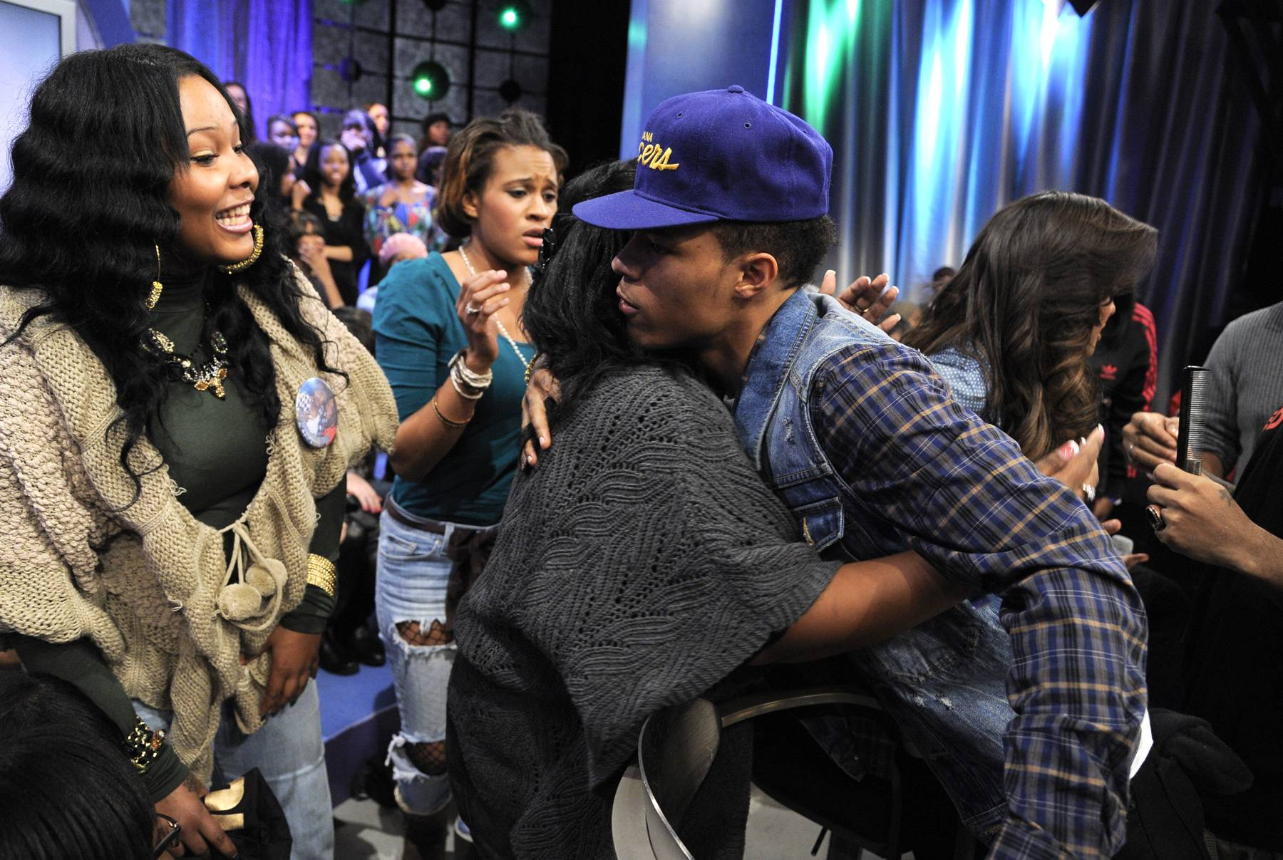 Hugs for You\r - Bow Wow, aka Mr. 106 & Park, greets fans at 106 & Park, January 23, 2012. (Photo: John Ricard / BET)