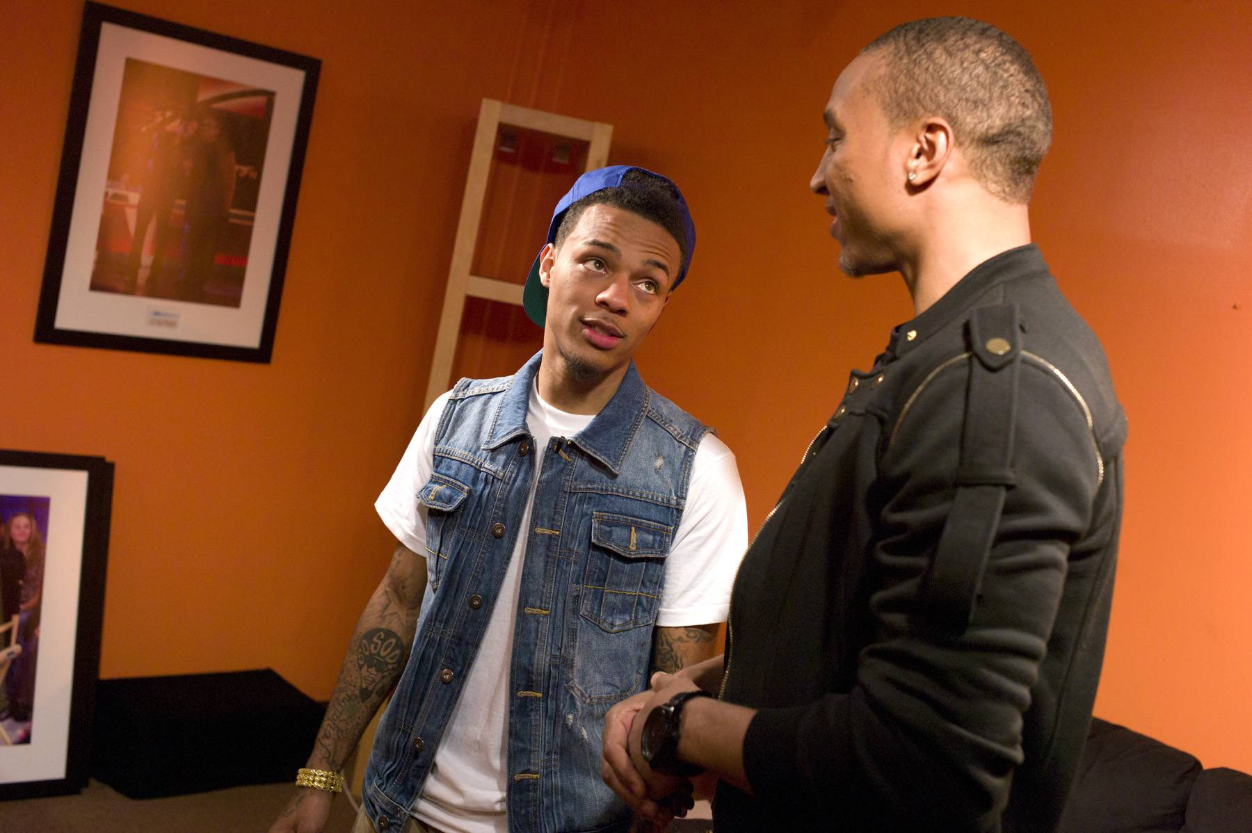 """Tell Me About It\r - Bow Wow, in the green room at 106 & Park,tells Tony Anderson of BET.com that he will never give up the """"Mr. 106 & Park"""" title.January 23, 2012. (Photo: John Ricard / BET)"""