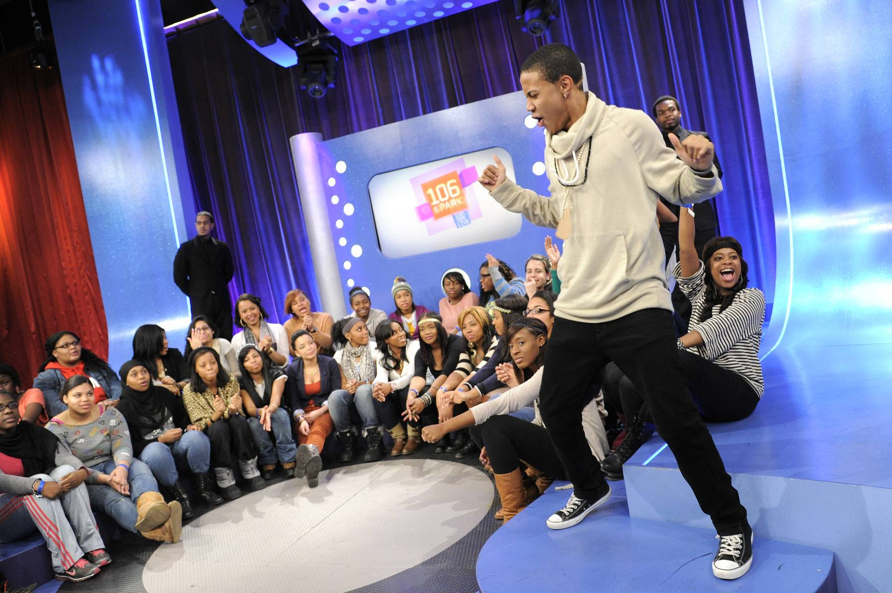 Get It On\r - The Livest Audience is excited whenever Bow Wow, aka Mr. 106 & Park, appears at 106 & Park, January 23, 2012. (Photo: John Ricard / BET)