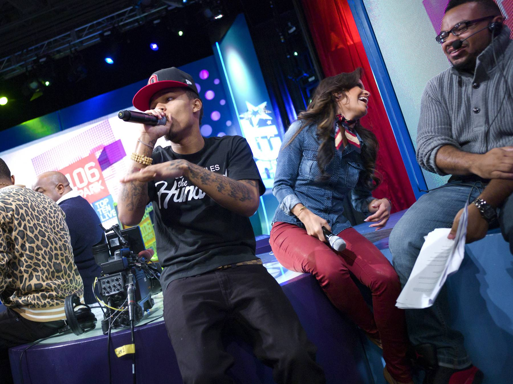 I Told You So - Bow Wow breaks into an impromptu performance during a commercial break at 106 & Park, January 23, 2012. (Photo: John Ricard / BET)