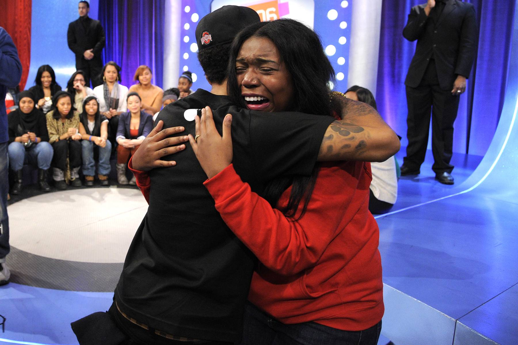Cry for You\r - Bow Wow greets an excited fan at 106 & Park, January 23, 2012. (Photo: John Ricard / BET)
