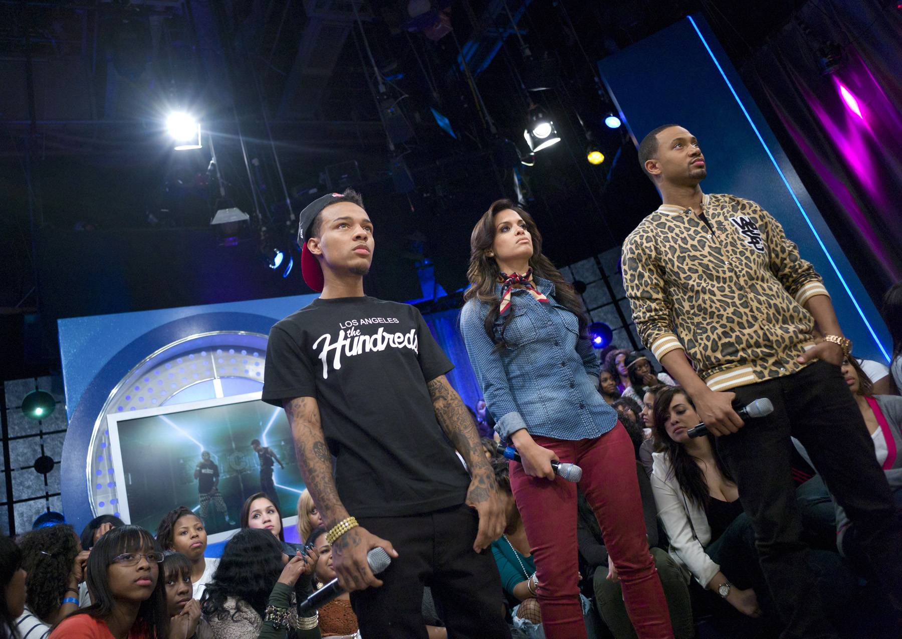 Take a Break\r - Bow Wow with Rocsi Diaz and Terrence J during a commercial break at 106 & Park, January 23, 2012. (Photo: John Ricard / BET)