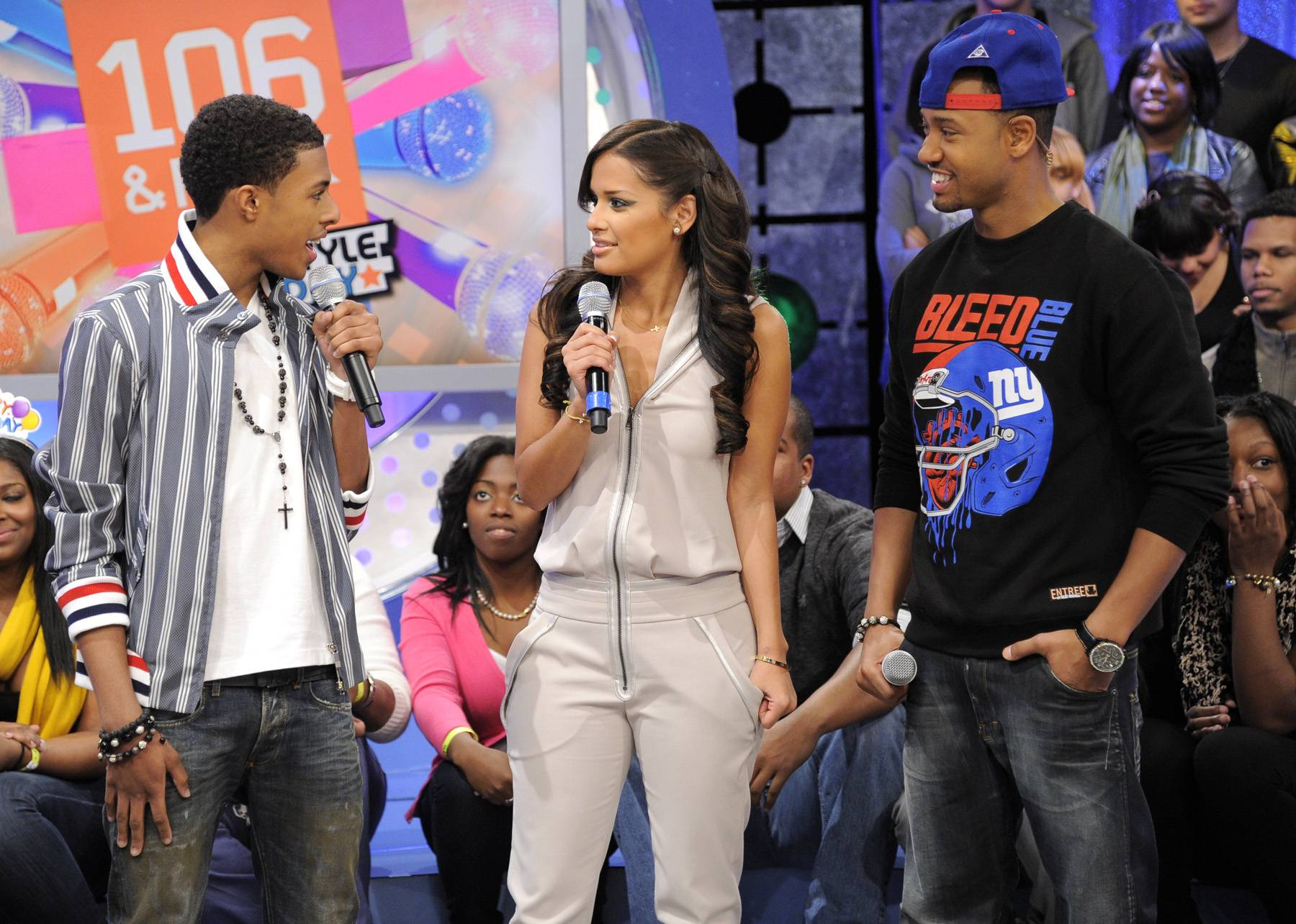 Always Good - Diggy Simmons prepares to reveal the title of his new album to Rocsi Diaz and Terrence J at 106 & Park, January 20, 2012. (Photo: John Ricard / BET)