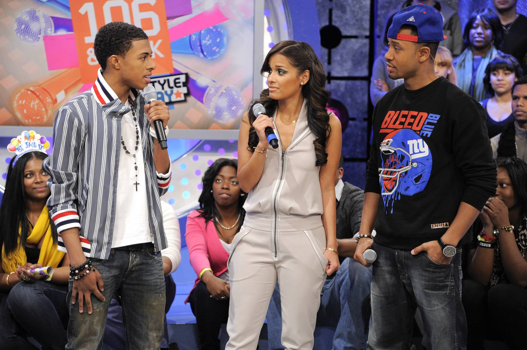 It Was All a Dream - Diggy Simmons with Rocsi Diaz and Terrence J at 106 & Park, January 20, 2012. (Photo: John Ricard / BET)