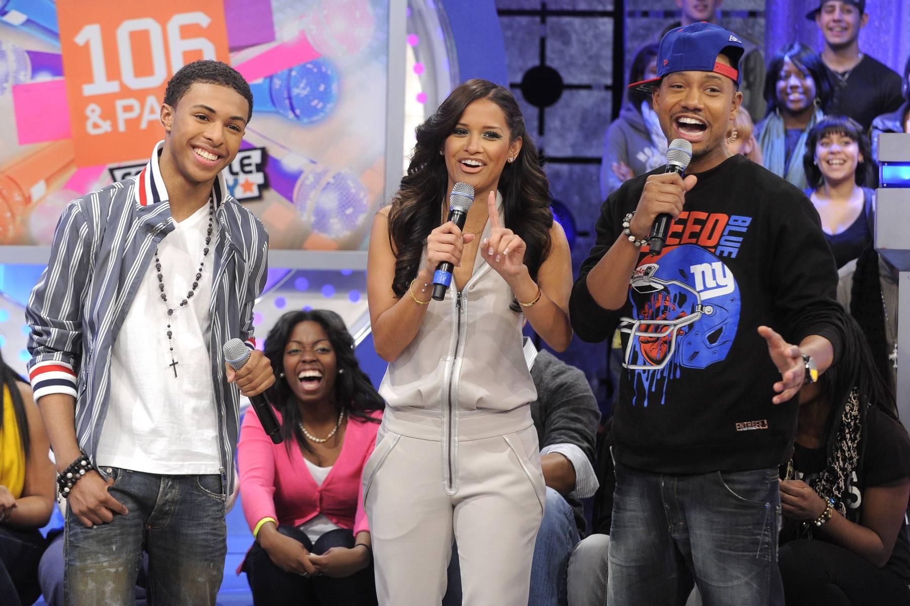Holla - Diggy Simmons with Rocsi Diaz and Terrence J at 106 & Park, January 20, 2012. (Photo: John Ricard / BET)