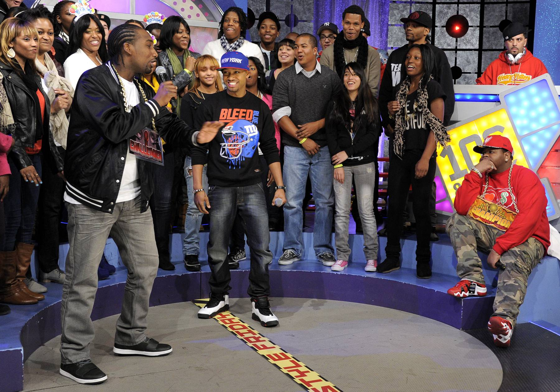 Have a Seat - Freestyle Friday challenger Dolo Chillin delivers his round-one attack at 106 & Park, January 20, 2012. (Photo: John Ricard / BET)