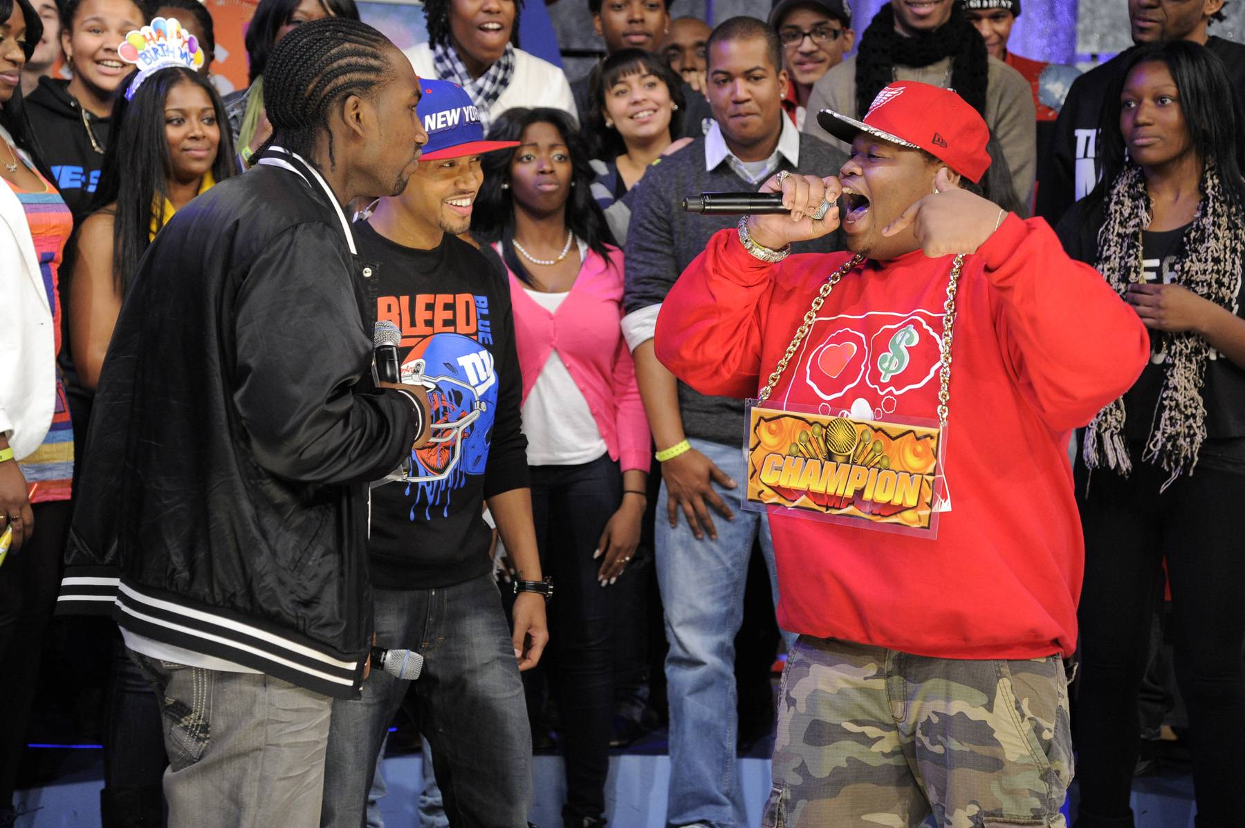 Stop Yelling - Freestyle Friday champion Relly battles Dolo Chillin at 106 & Park, January 20, 2012. (Photo: John Ricard / BET)