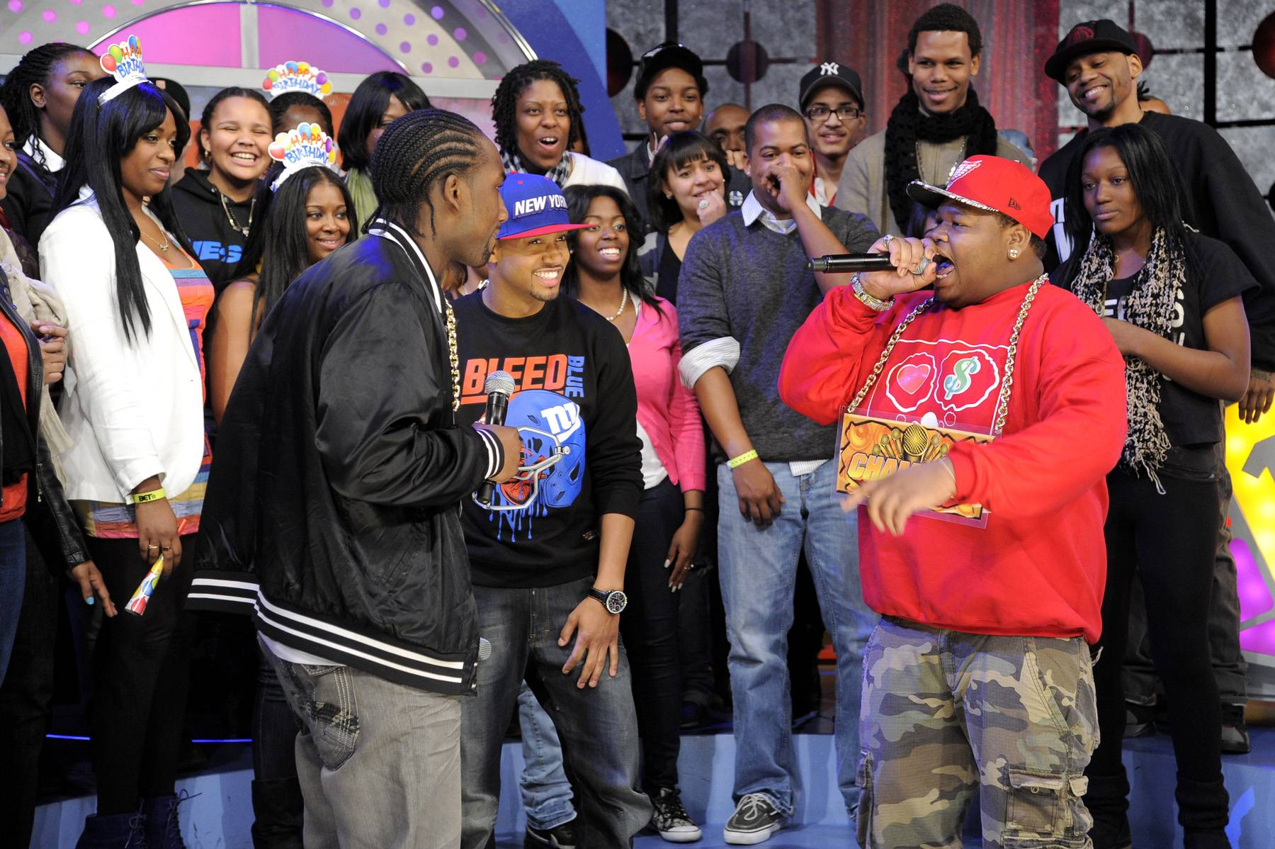 Rough Day - Freestyle Friday champion Relly battles Dolo Chillin at 106 & Park, January 20, 2012. (Photo: John Ricard / BET)