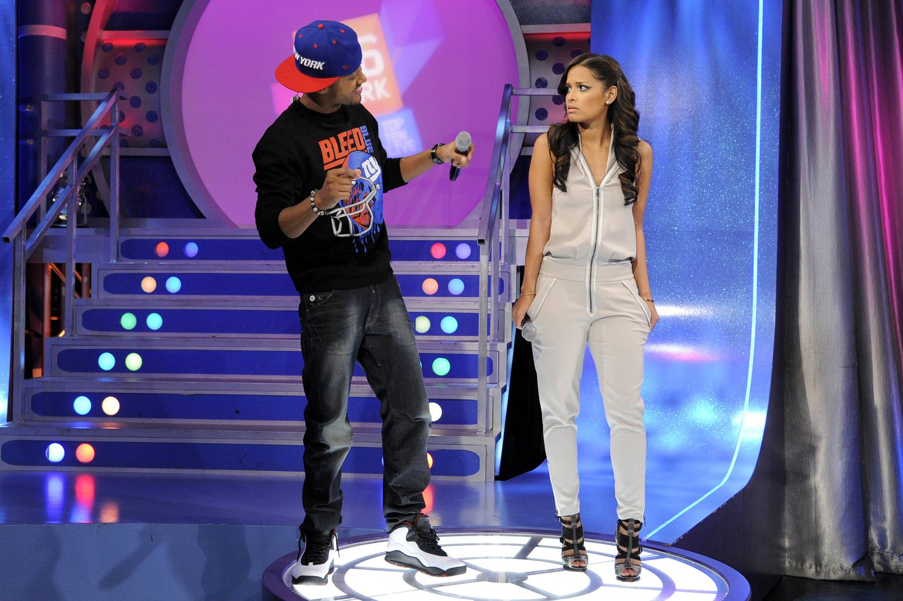 What Was That? - Rocsi Diaz is not impressed with Terrence J's dancing at 106 & Park, January 20, 2012. (Photo: John Ricard / BET)