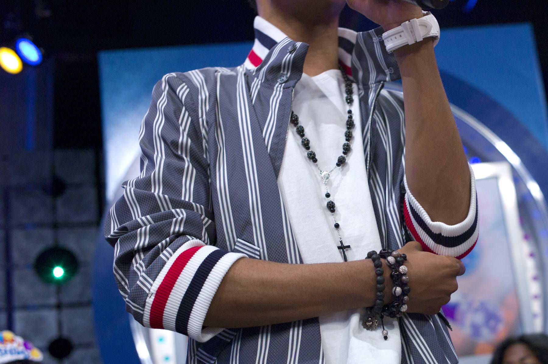 Chin Check - Diggy Simmons reflects during a commercial break at 106 & Park, January 20, 2012. (Photo: John Ricard / BET)