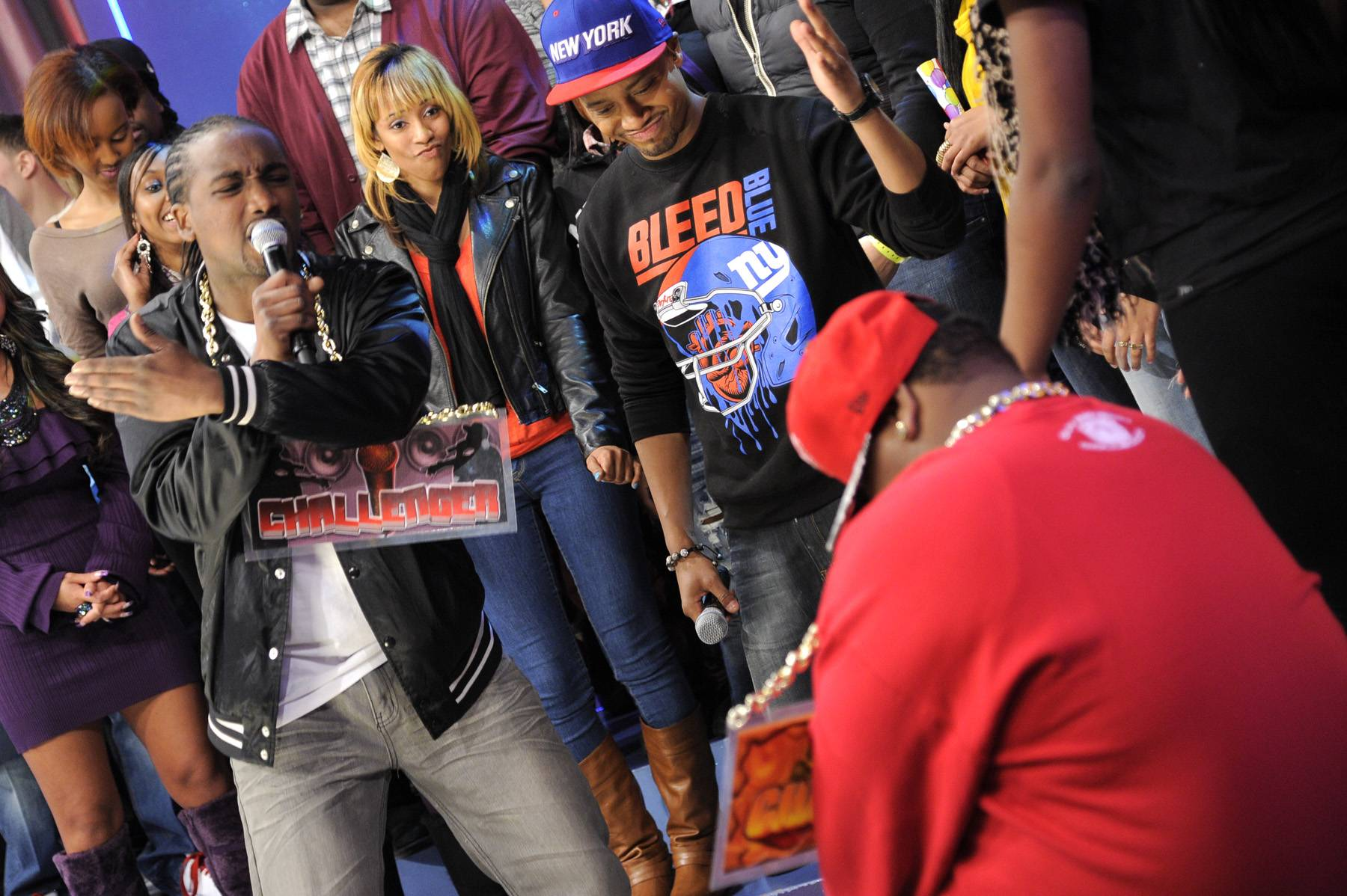 Man Down - Dolo Chillin threatens Relly with a lyrical smackdown at 106 & Park, January 20, 2012. (Photo: John Ricard / BET)