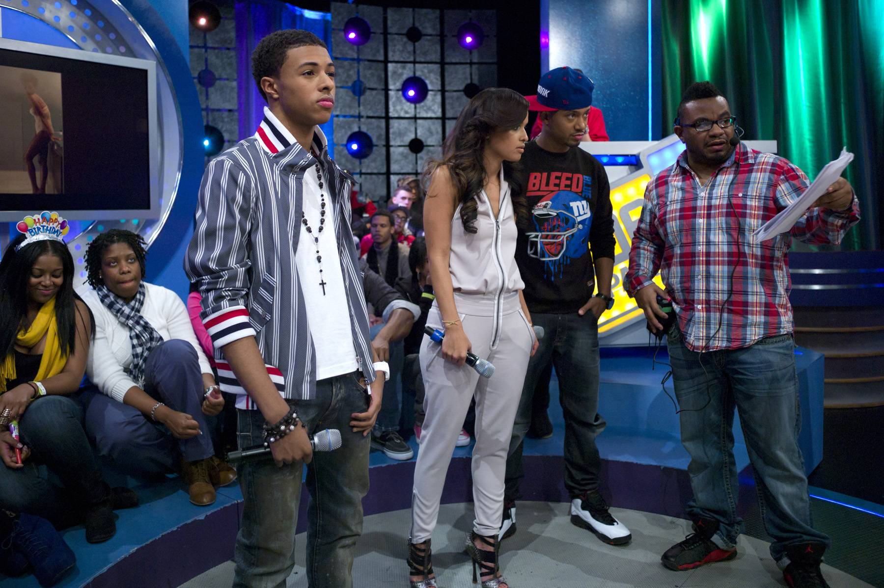 Take a Break - Diggy Simmons reflects during a commercial break at 106 & Park, January 20, 2012. (Photo: John Ricard / BET)