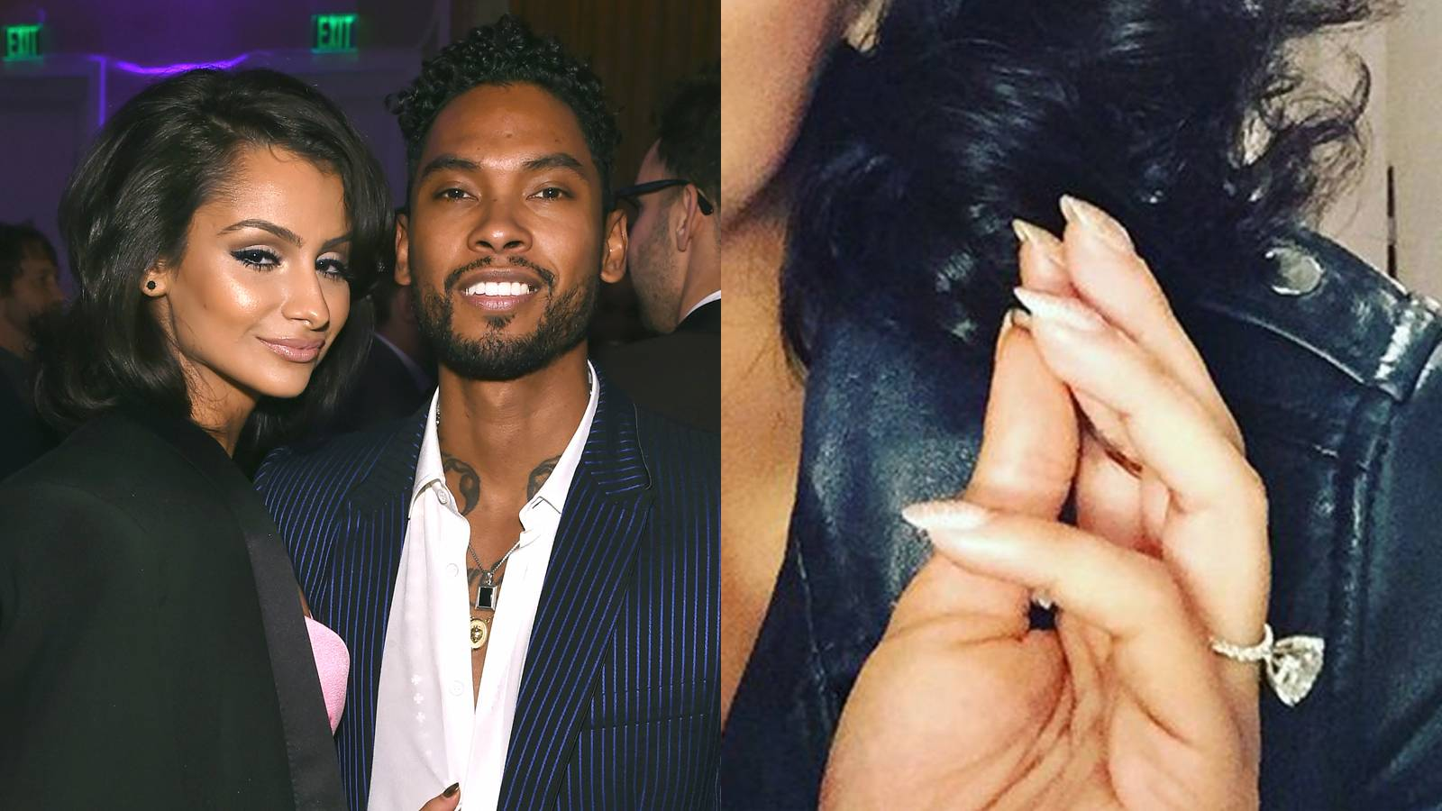 """Nazanin Mandi - Did Miguel pop the question? The """"Adore"""" singer's longtime girlfriend flashed a shiny new diamond on that finger on Instagram, drumming up speculation that she and the crooner are indeed engaged. Whether it's true or not (the couple hasn't officially commented), you can't argue with that sizable rock and classy, iced-out band!(Photos from left: Larry Busacca/Getty Images for NARAS, Nazanin Mandi via Instagram)"""