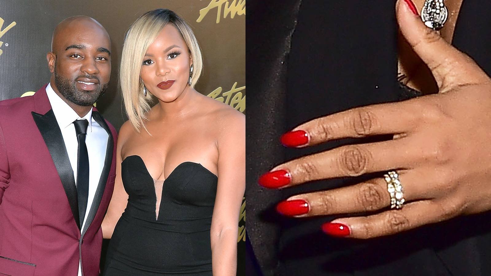 """LeToya Luckett - The actress is working not one, but two diamond-encrusted bands! The twin bands appear to be set in gold, with thick baguette diamonds studded all around. She said """"yes"""" to her fiancé, Rob Hill, Sr., in January 2016 after dating for less than a year.(Photos from left: Earl Gibson III/Getty Images, Paras Griffin/WireImage)"""