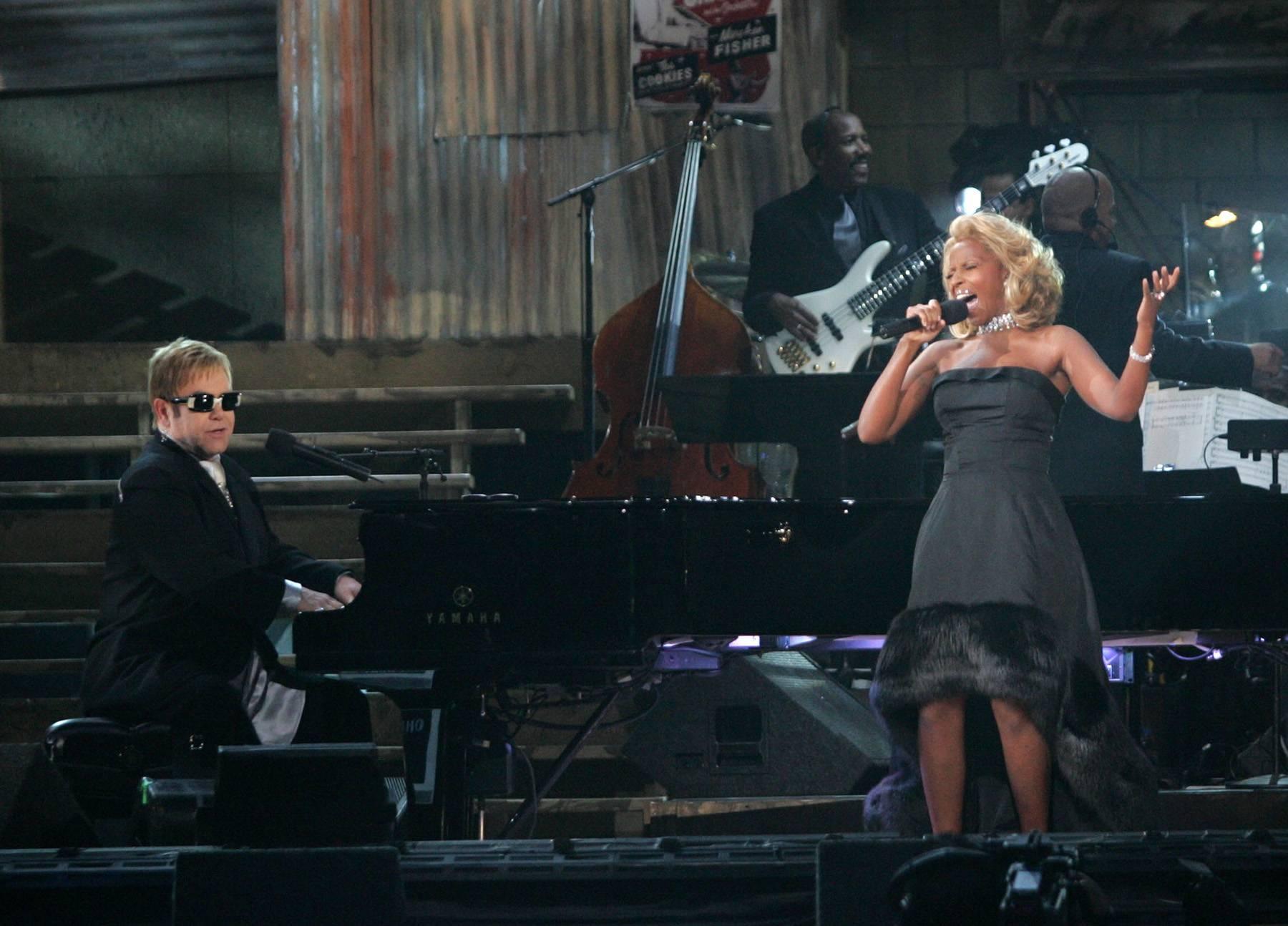Mary J. Blige and Elton John - Mary J. Blige really showed her versatilty by holding her own alongside Elton John.  (Photo: Frank Micelotta/Getty Images)