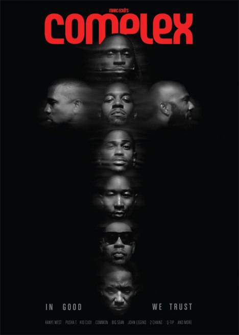 Complex Magazine's G.O.O.D. Music August/September 2012 Cover - With all the religious-themed tracks released from G.O.O.D. Music, it's not a surprise that they kept consistent with their designs. The cross formation of the eight label mates is definitely a conversation starter. We're almost shocked that Yeezus didn't take the center position of the cross.(Photo: Complex Magazine, August/September 2012)