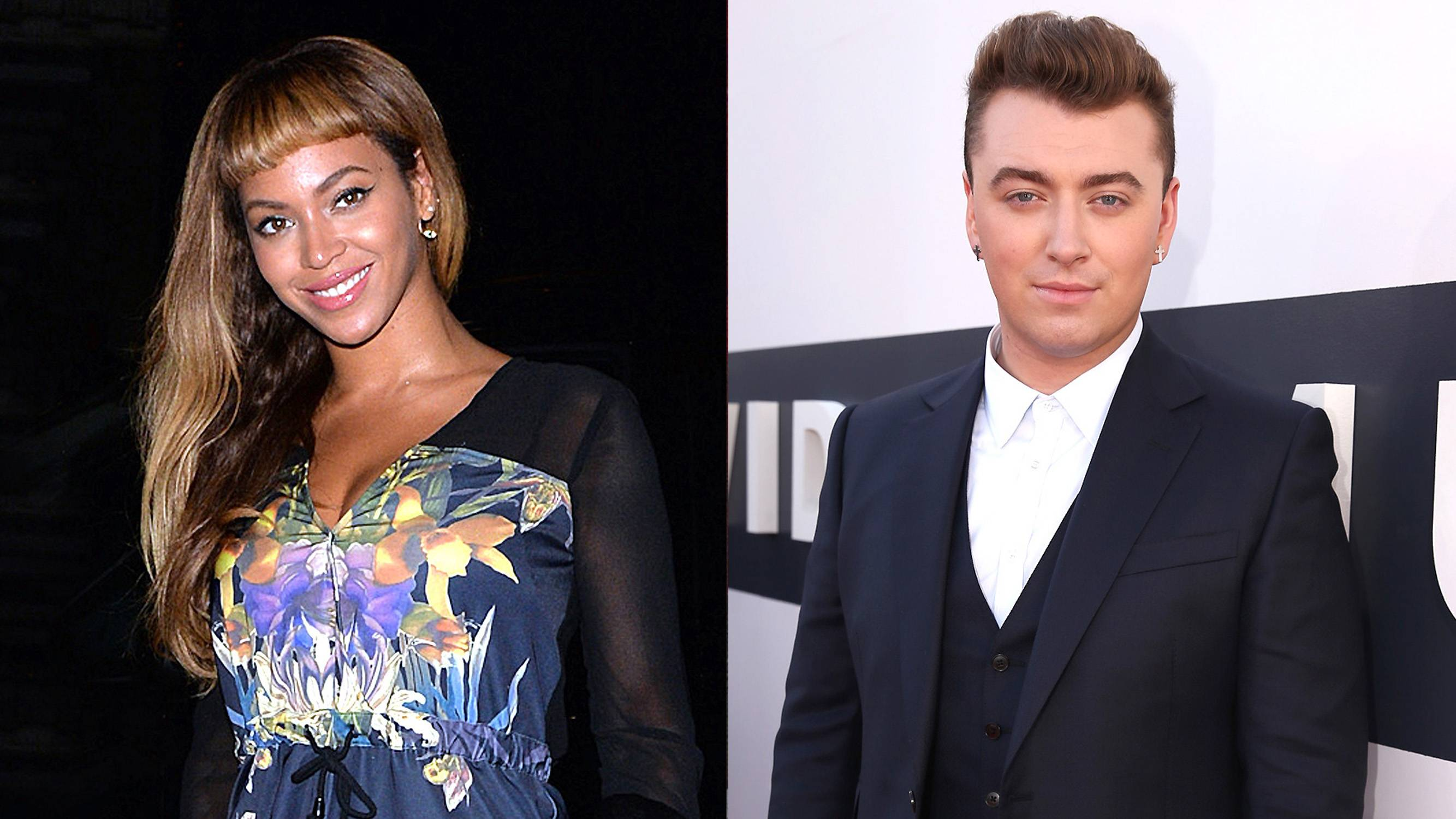 """Sam Smith Covers Beyonc? - Sam Smith was recorded in the shower singing his on version of Beyonc?'s """"Drunk in Love,"""" and he did a good job. Listen here.   (Photos from left: Gotcha Images/Splash News, Christopher Polk/Getty Images for MTV)"""