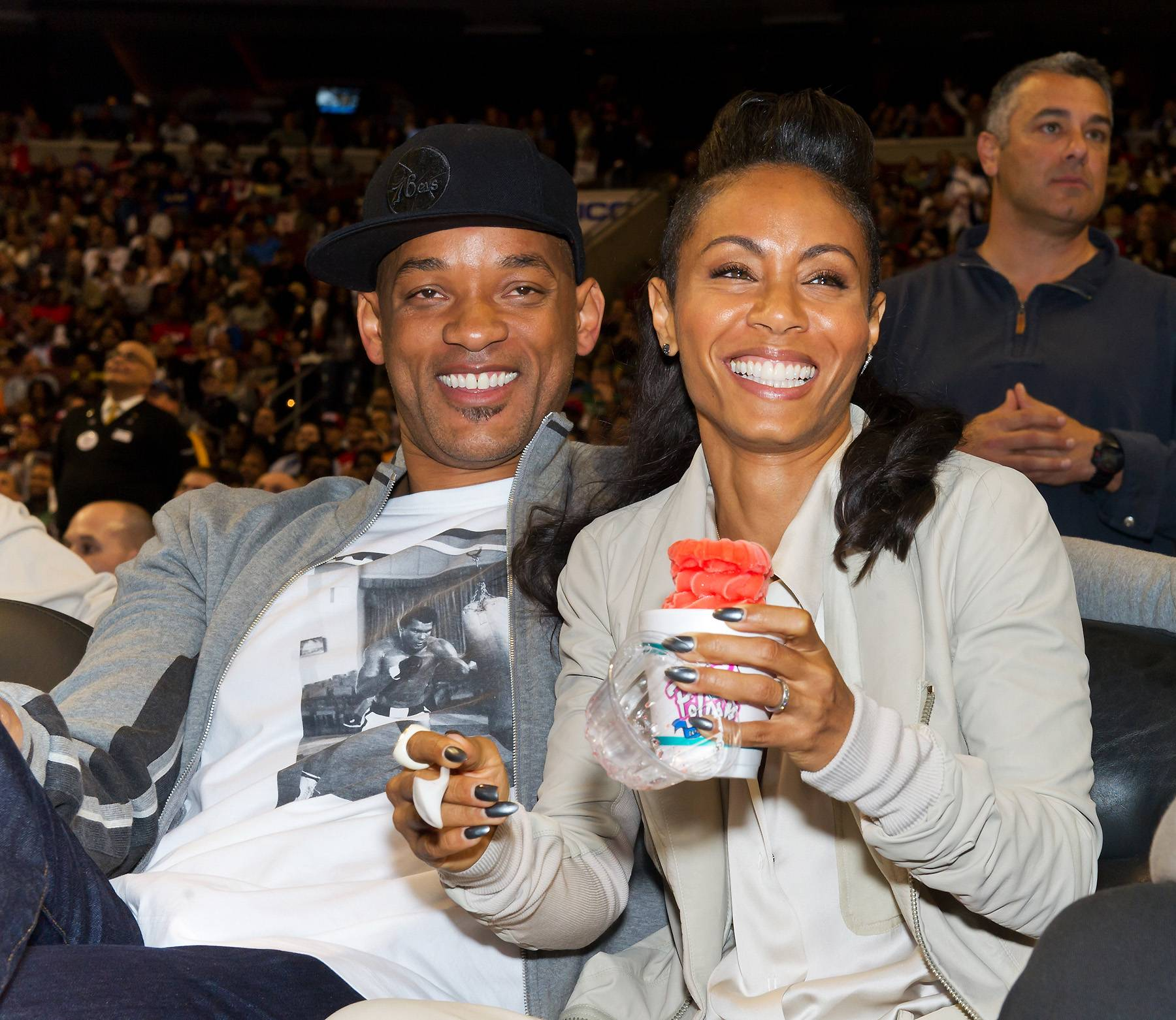 """Will Smith and Jada Pinkett-Smith - Will """"West Philadelphia born and raised"""" Smith is such a die hard fan for his city that he and his wife own a minority share of the 76ers.(Photo: Gilbert Carrasquillo/Getty Images)"""