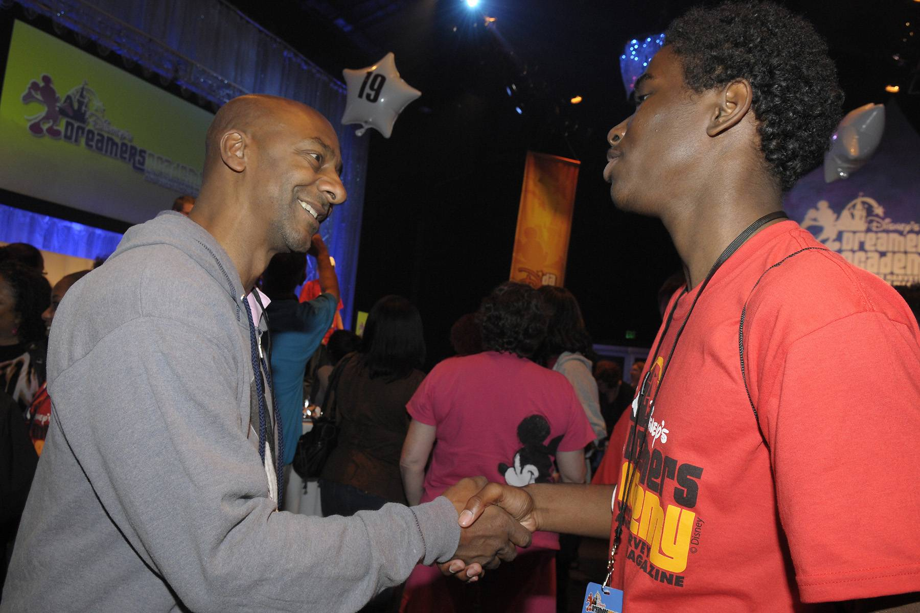 In Good Hands - BET Networks President Stephen Hill greeted Julian Canery, a Dreamer from Brooklyn, NY, at a career networking event on March 10.  (Photo: Phelan Ebenhack)