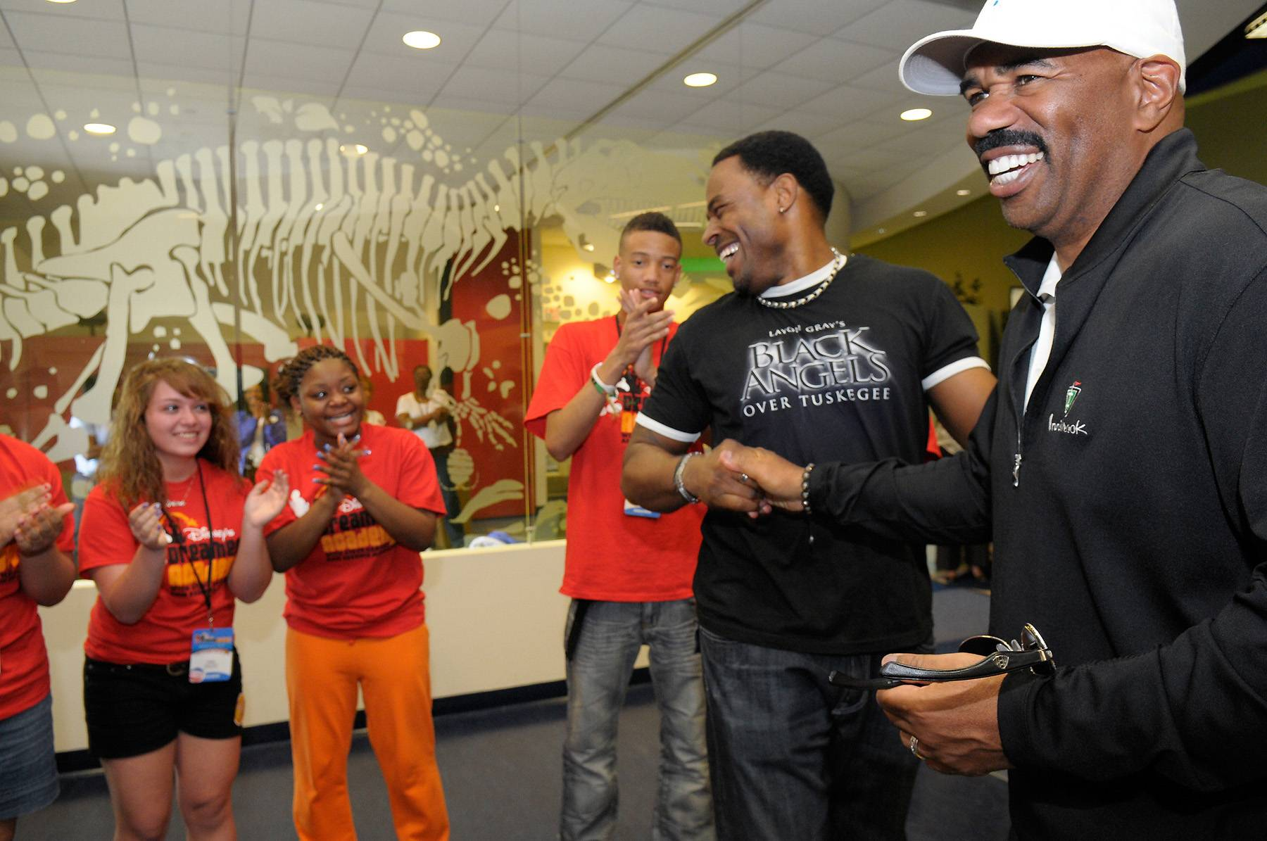 Surprise Guests - Steve Harvey and actor Lamman Rucker surprised the Dreamers at an acting workshop on March 10.  (Photo: Phelan Ebenhack)