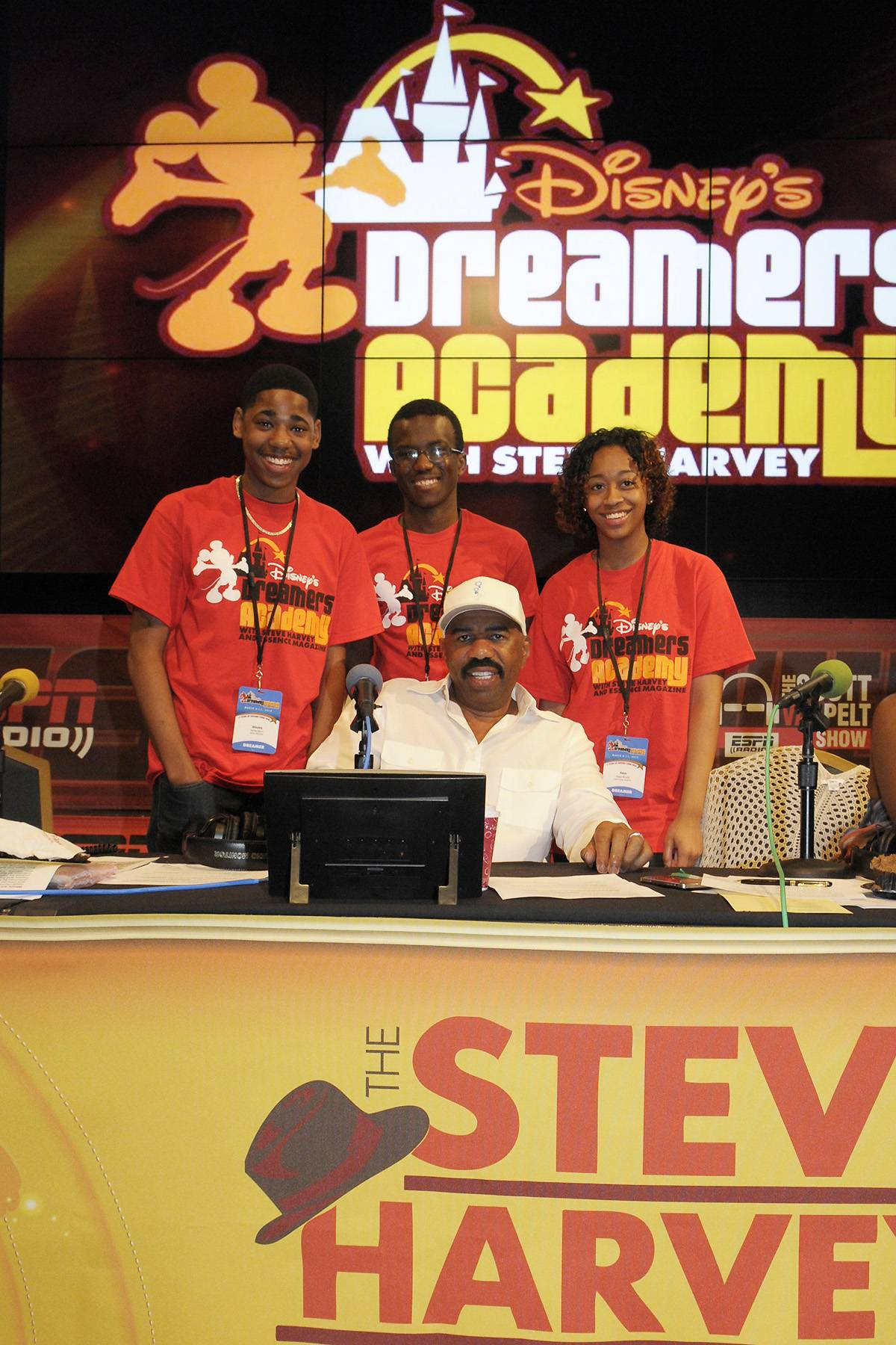 Early Risers - Steve Harvey invited a group of Dreamers to join him in an early morning taping of his radio program, which broadcasted live from ESPN?S Wide World of Sports in Orlando on March 9.  (Photo: Phelan Ebenhack)