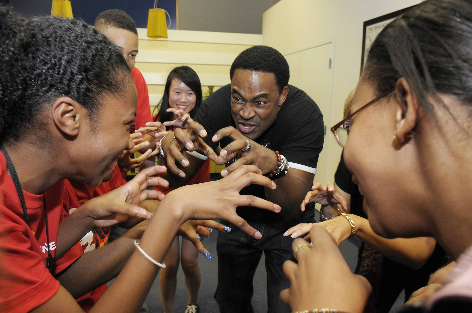Acting on Cue - Lamman Rucker decides to flex his acting chops, joining in on an improvisation exercise during an acting workshop on March 10. (Photo: Phelan Ebenhack)