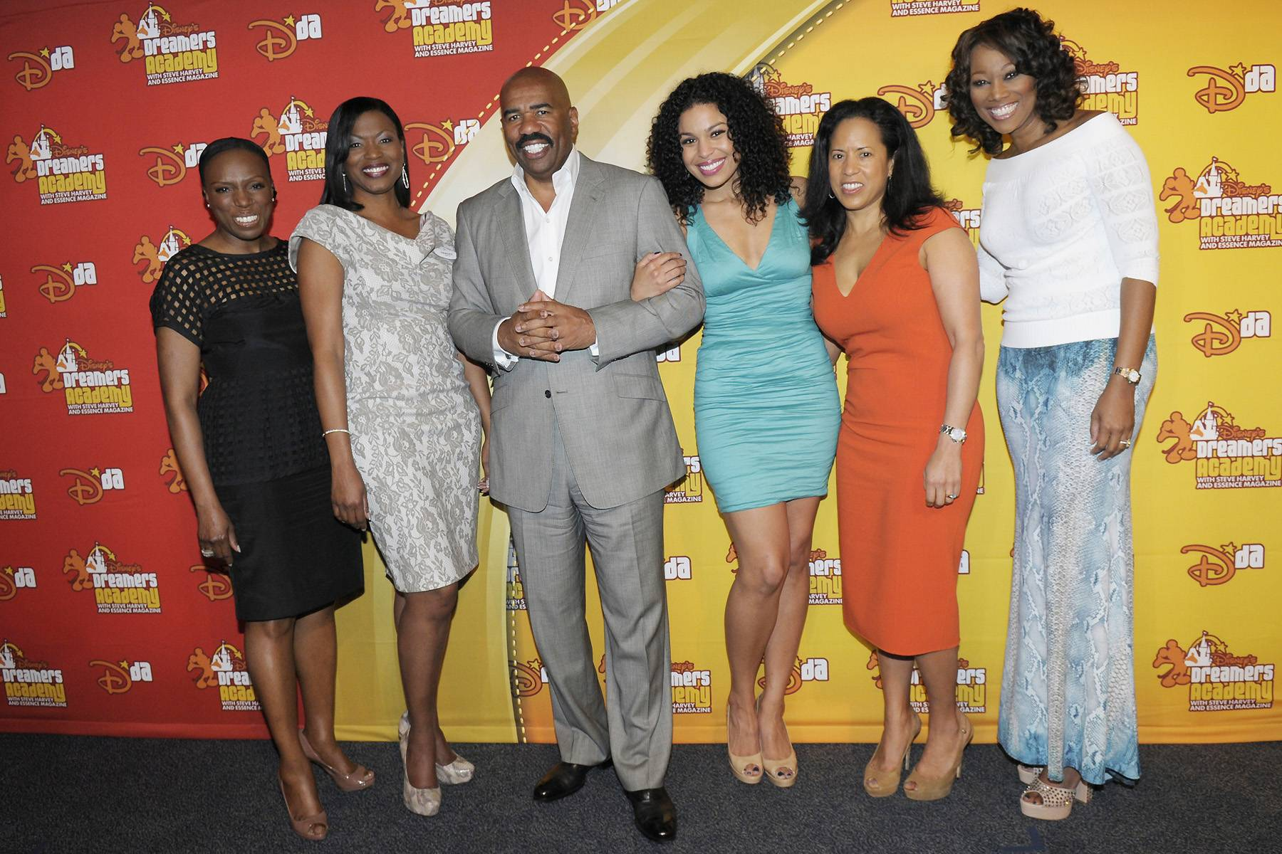 Power Posse - Steve Harvey poses with Mikki Taylor, editor-at-large for Essence magazine; Tracey D. Powell, Disney executive champion of Disney's Dreamers Academy; American Idol?s Jordin Sparks; Michelle Ebanks, president of Essence Communications; and gospel singer Yolanda Adams during the Dreamers Academy commencement ceremony on March 11. (Photo: Phelan Ebenhack)