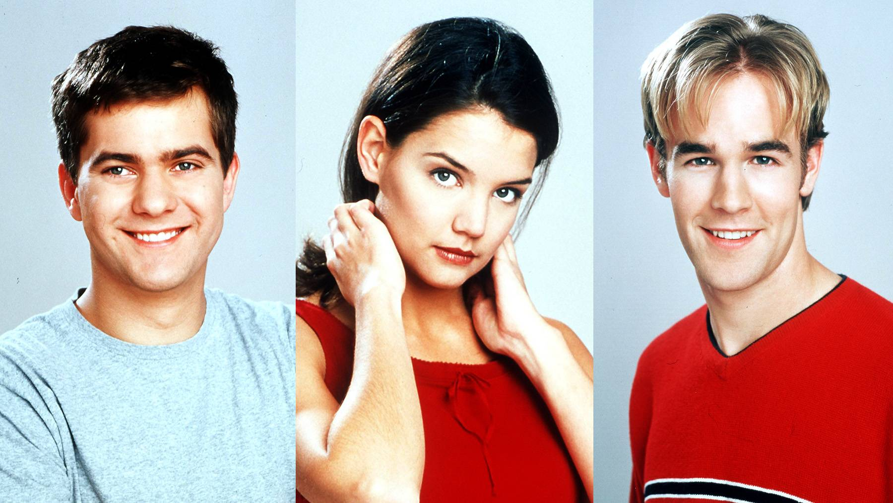 Pacey, Joey and Dawson in Dawson's Creek - Before they were known for their current achievements (Joshua Jackson was in Fringe, Katie Holmes for divorcing Tom Cruise and James Vanderbeek in Don't Trust the B--- in Apt 23), they were all tumultuous teenagers in the sordid WB drama Dawson's Creek. Holmes, who portrayed Joey, would fall in and out of love with both Dawson (Vanderbeek) and Pacey (Jackson) whenever the screenwriters felt it was convenient.   (Photos: Getty Images)