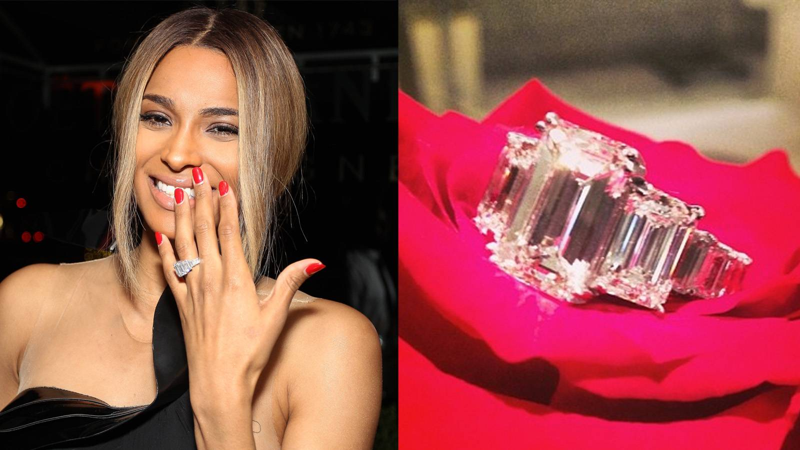 Ciara - Ciara and Future called off their engagement in August 2014, but we still can't help but fawn over her ring. The rapper-producer proposed in October 2013 with a spectacular 15-carat emerald-cut diamond engagement ring. They have a son together. (Photo: Bob Levey/Getty Images for Moet & Chandon, Photo via Instagram Ciara)