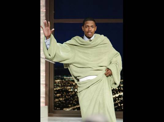 Nick Cannon - The comedian and actor wears his Snuggie to the stage, but says it?s a part of his new line, ?Jerusalem Wear.?
