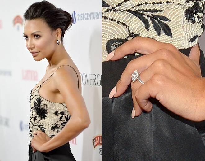 Naya Rivera  - The Glee star called it quits with Big Sean (she's now married to actor Ryan Dorsey), but here's a look back at the fabulous rock he gifted her in October 2013. The giant cushion-cut diamond features a halo setting and sits on a thin band that appears to have diamonds all around. (Photo by Alberto E. Rodriguez/Getty Images for Latina Magazine)