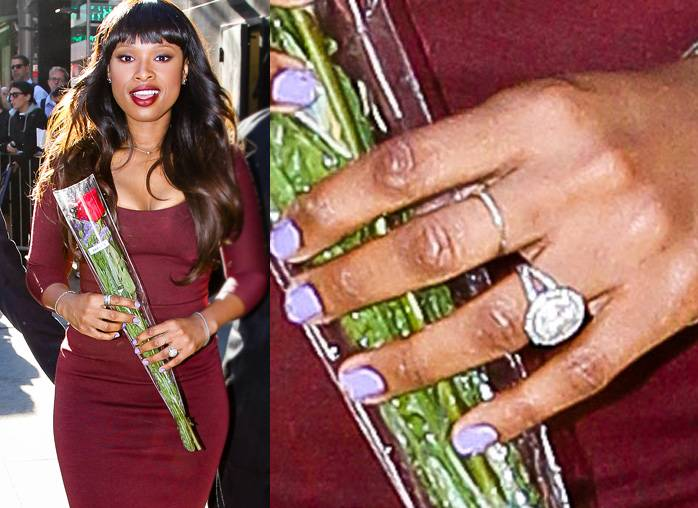 Jennifer Hudson - Take a closer look at Jennifer Hudson's five-carat engagement stunner from David Otunga, gifted in September 2008. Designed by Neil Lane, the ring has a round center stone and a micro-pave split-shank band.  (Photo: Allan Bregg / Splash News)