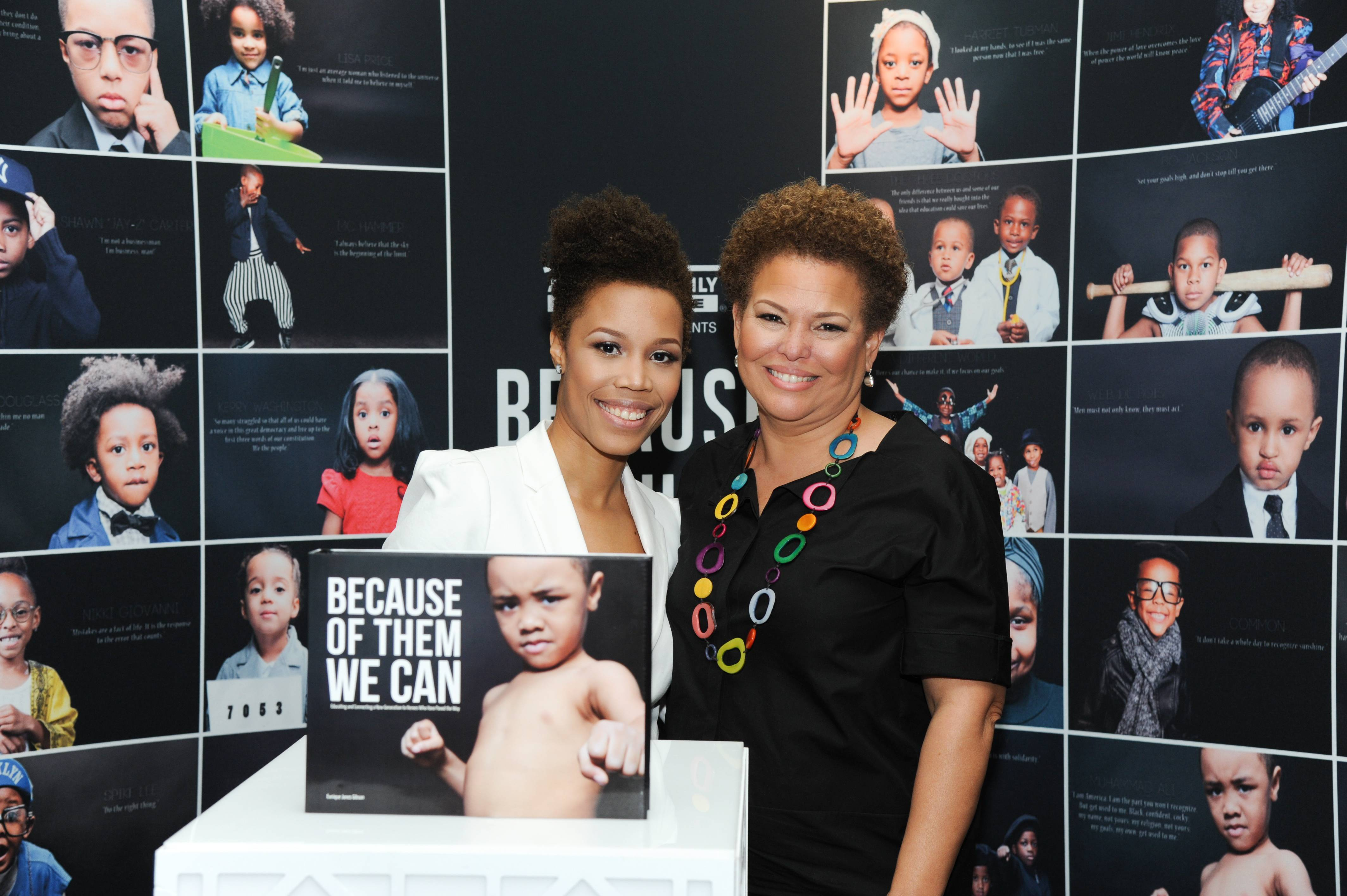 """Eunique Jones, Debra L. Lee - Eunique Jones launched the campaign after her second son was born and was initially inspired by Trayvon Martin's story. """"I began to reflect on my sons and their promising future ? specifically the opportunities they could pursue as a result of the progress and achievements made by individuals past and present. I also thought about the responsibility and, at times, the fear I carry as a mother raising Black boys.""""   Here, BET's own Debra Lee takes a look through Jones' Dream Wall and poses with the creator.  (Photo: Vladimir Banjanac for BET)"""