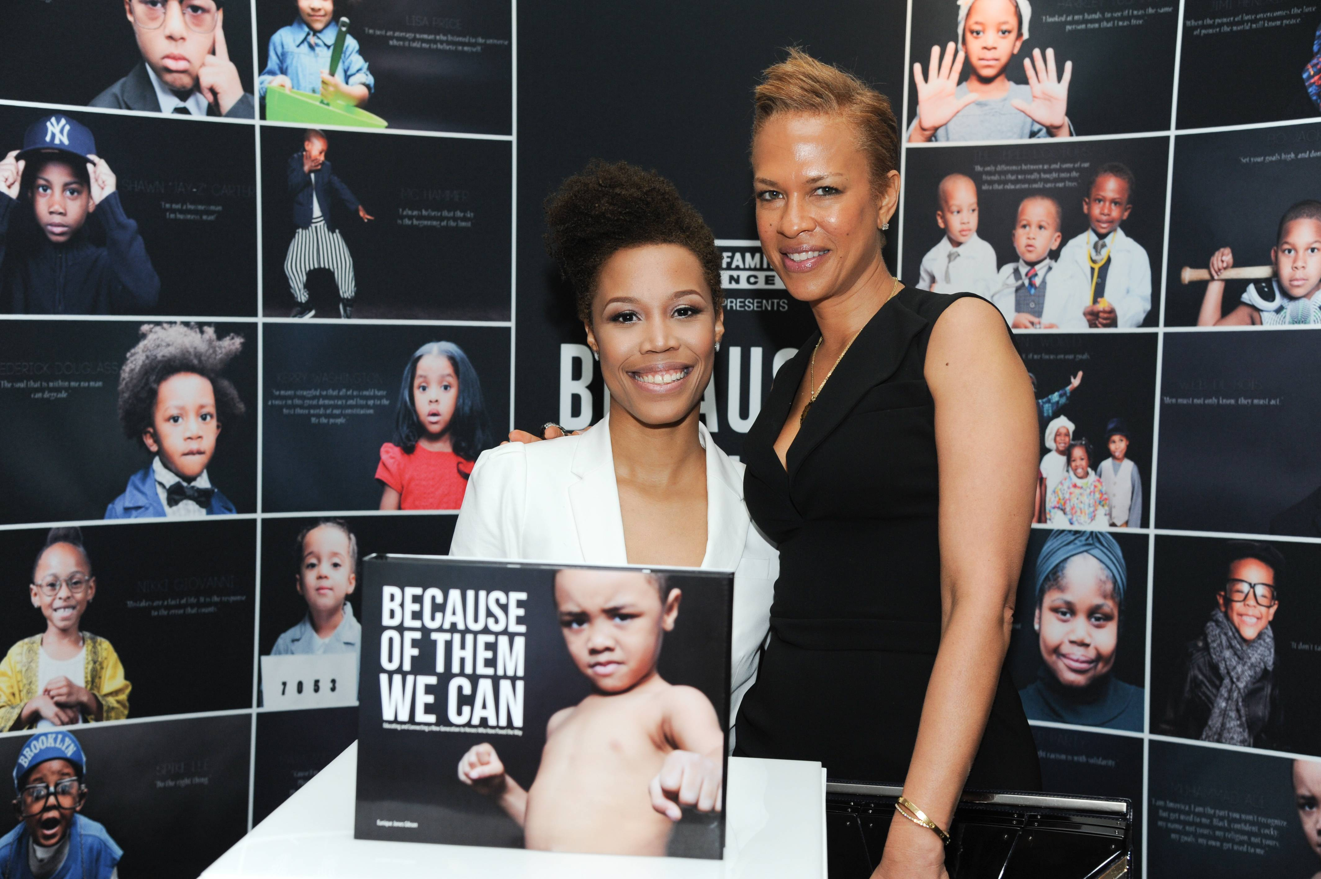 Eunique Jones, Tonya Lewis Lee - The inspirational photographer poses alongside Tonya Lewis Lee at the Dream Wall installation during the Leading Women Defined conference in Miami.   (Photo: Vladimir Banjanac for BET)