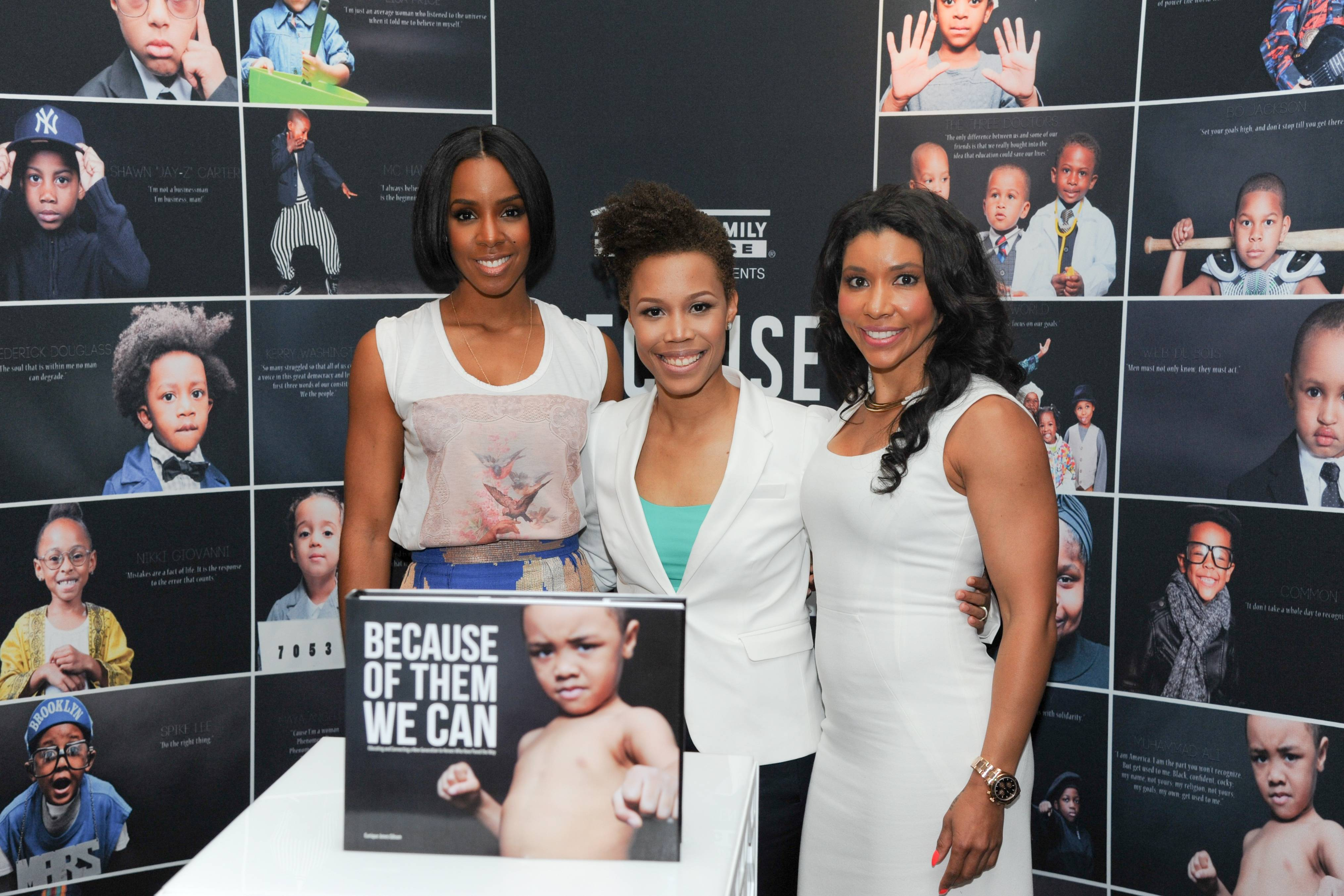 """Kelly Rowland, Eunique Jones, Jeanette Jenkins - Eunique Jones has been inspiring countless youth since launching her """"Because of Them, We Can"""" campaign in 2013 and connecting the next generation with the heroes who've helped pave their way. At the Leading Women Defined conference in Miami this week, Jones' Dream Wall helped to inspire all of us to continue doing good and to strive to be great role models for those who will rise up after us.   (Photo: Vladimir Banjanac for BET)"""