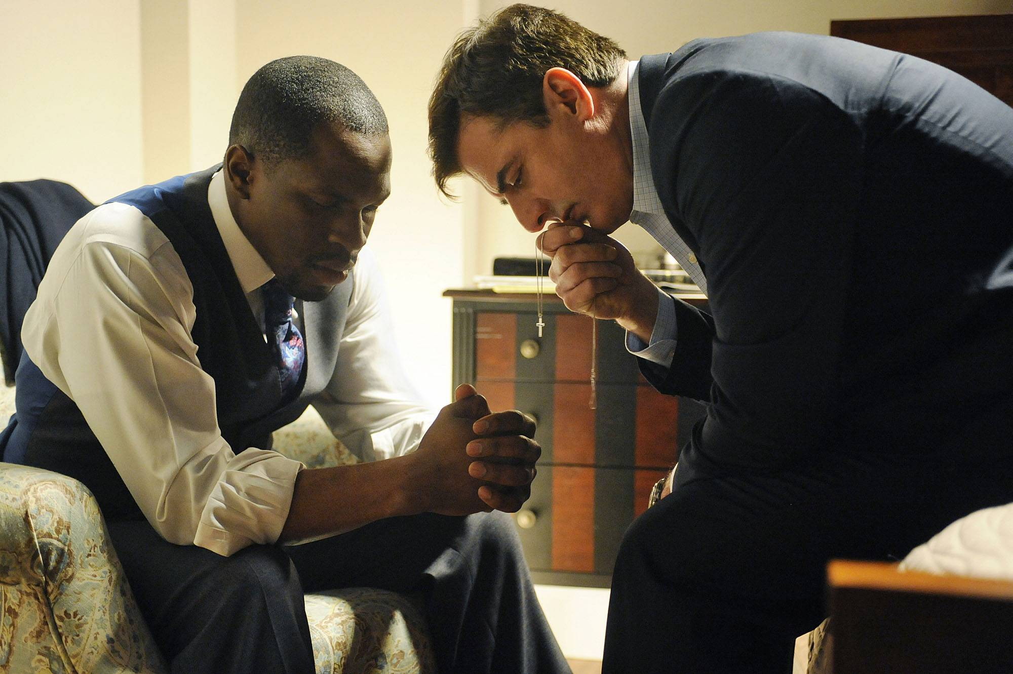 The Good Wife - Most recently Akinnagbe portrayed Pastor Isaiah Easton on the TV series The Good Wife. Here his character speaks to disgraced state's attorney Peter Florrick (played by Chris Noth).(Photo: Jeffrey Neira/CBS)