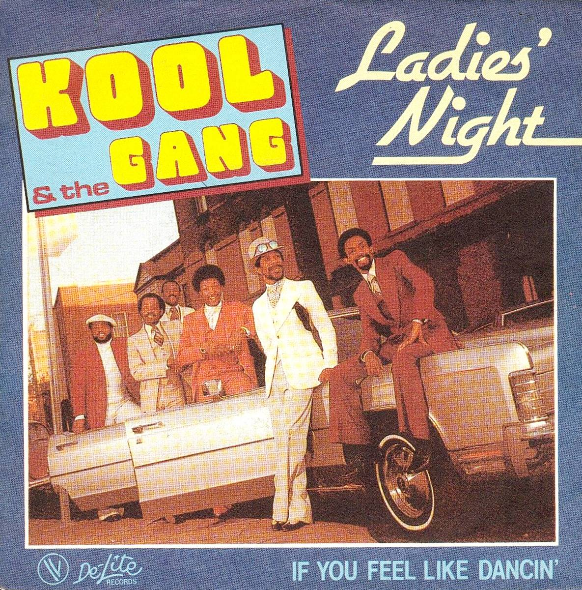 """""""Ladies' Night"""" - Seeking to expand their audience with a smoother sound, the band enlisted singer J.T. Taylor to be their lead vocalist. The title track for their 11th LP, Ladies' Night, becomes their biggest hit at the time, putting the group in the crosshairs of the mainstream.  (Photo: De-Lite Records)"""