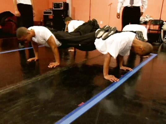 Havin' His Back - At rehearsal, the fellas are asked to do a special kind of push-up.