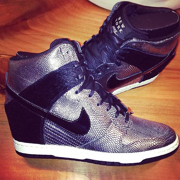 La La Anthony - Athletic chic has been the craze for the past year and it?s here to stay! La La Anthony got the memo and bought herself a pair of cute and comfy Nike Sky Hi Dunk wedges.  (Photo: LaLa Anthony via Instagram)