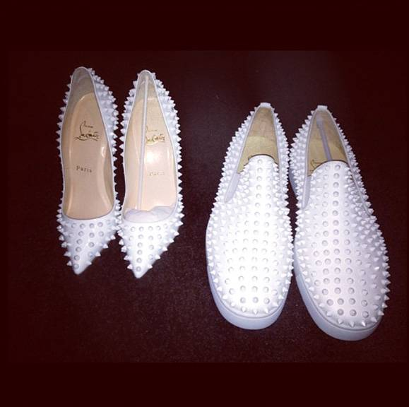 Keyshia Cole - Keyshia Cole?s husband has great taste in shoes. The singer shared this photo of his and hers Christian Louboutin ?Pigalle? white spike pumps and loafers, compliments of Boobie for their New Year?s Eve look.  (Photo: Keyshia Cole via Instagram)