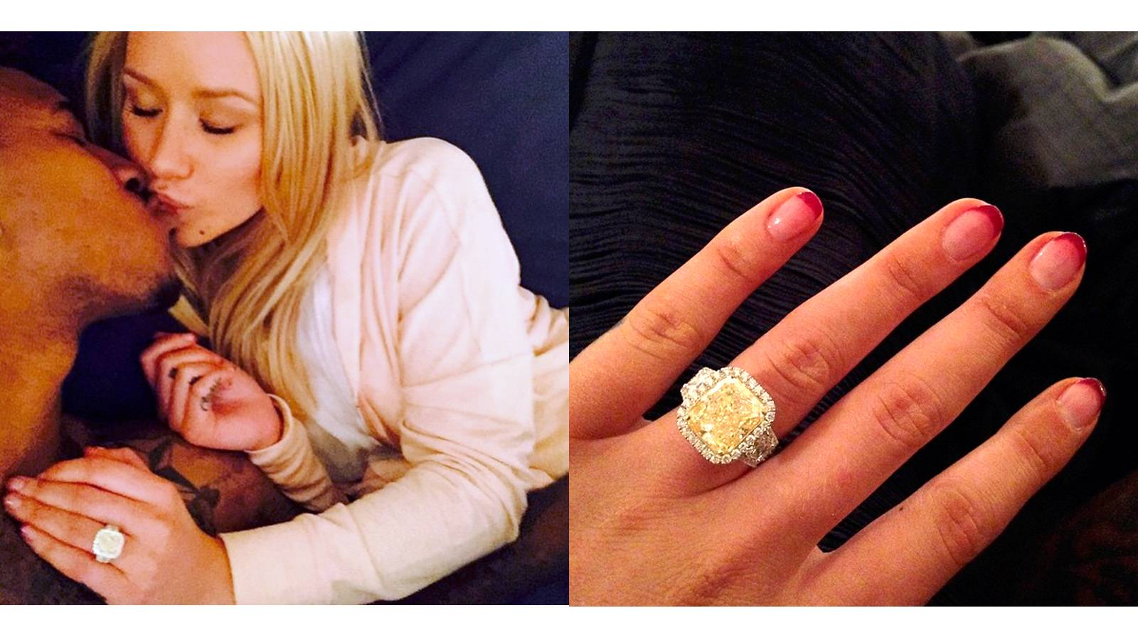"""Iggy Azalea - She's so fancy, you already know. And she's got the bling to prove it! Longtime love Nick Young popped the question at his 30th birthday bash on June 1 with this shimmering """"10.43-carat ring, consisting of an 8.15-carat fancy intense yellow diamond and a white diamond halo set into white gold,"""" according to People. Young co-designed the piece with jeweler Jason Arasheben of Jason of Beverly Hills.  (Photos: Iggy Azalea via Instagram)"""