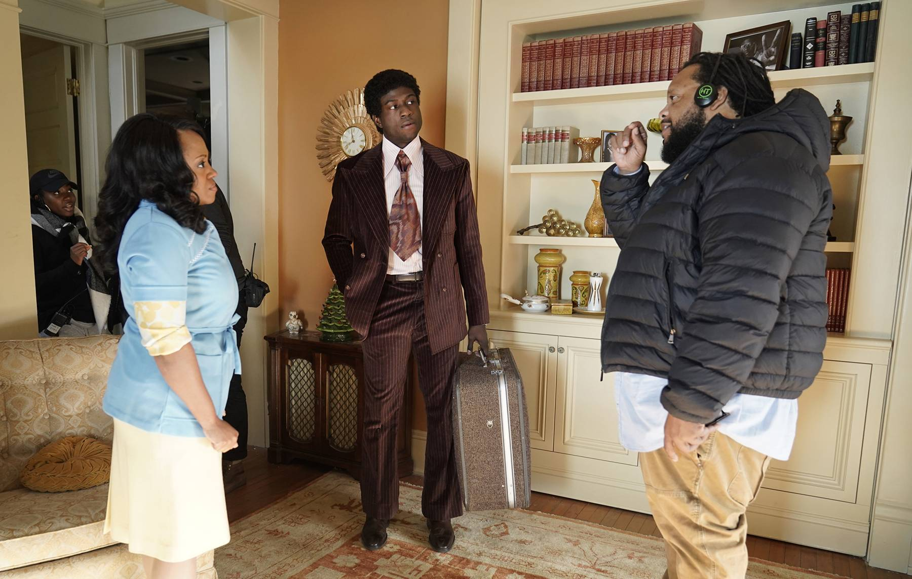 A Man With A Plan - Perri? Camper as Delores Cornelius, Sinqua Walls as Don Cornelius, and director Chris Robinson.