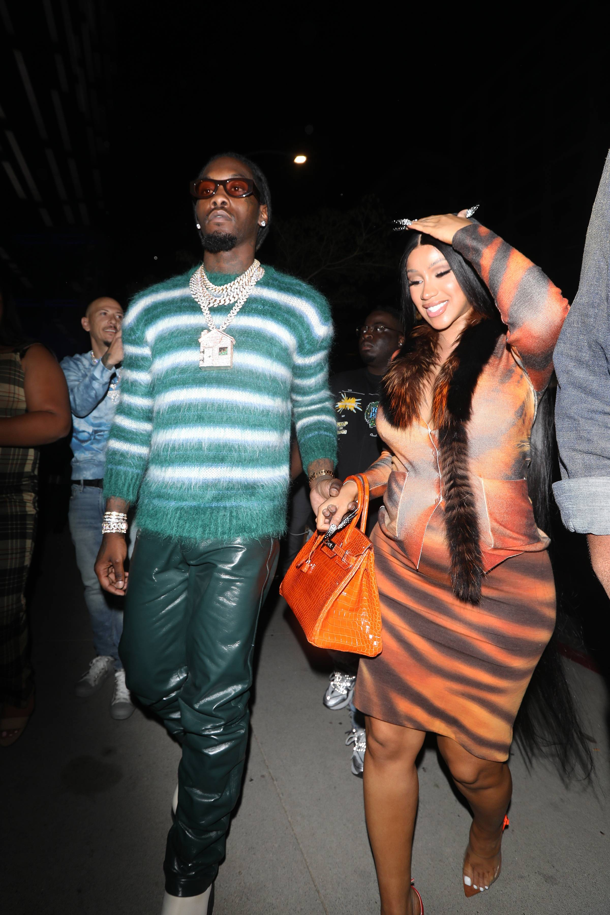 Date Night! - Cardi B and Offset enjoyed a date night out in LA on Sunday, after the BET Awards. The superstar couple stepped out in major style with Cardi donning a vintage Roberto Cavalli dress from FW 2000 collection, and her hubby Offset stepped rocking a Prada Men's sweater. The mama-to-be also carried one of her croc Hermès Birkin bags from her impressive collection. Congratulations again to the lovely couple! (Photo by Photographer Group/MEGA/GC Images)
