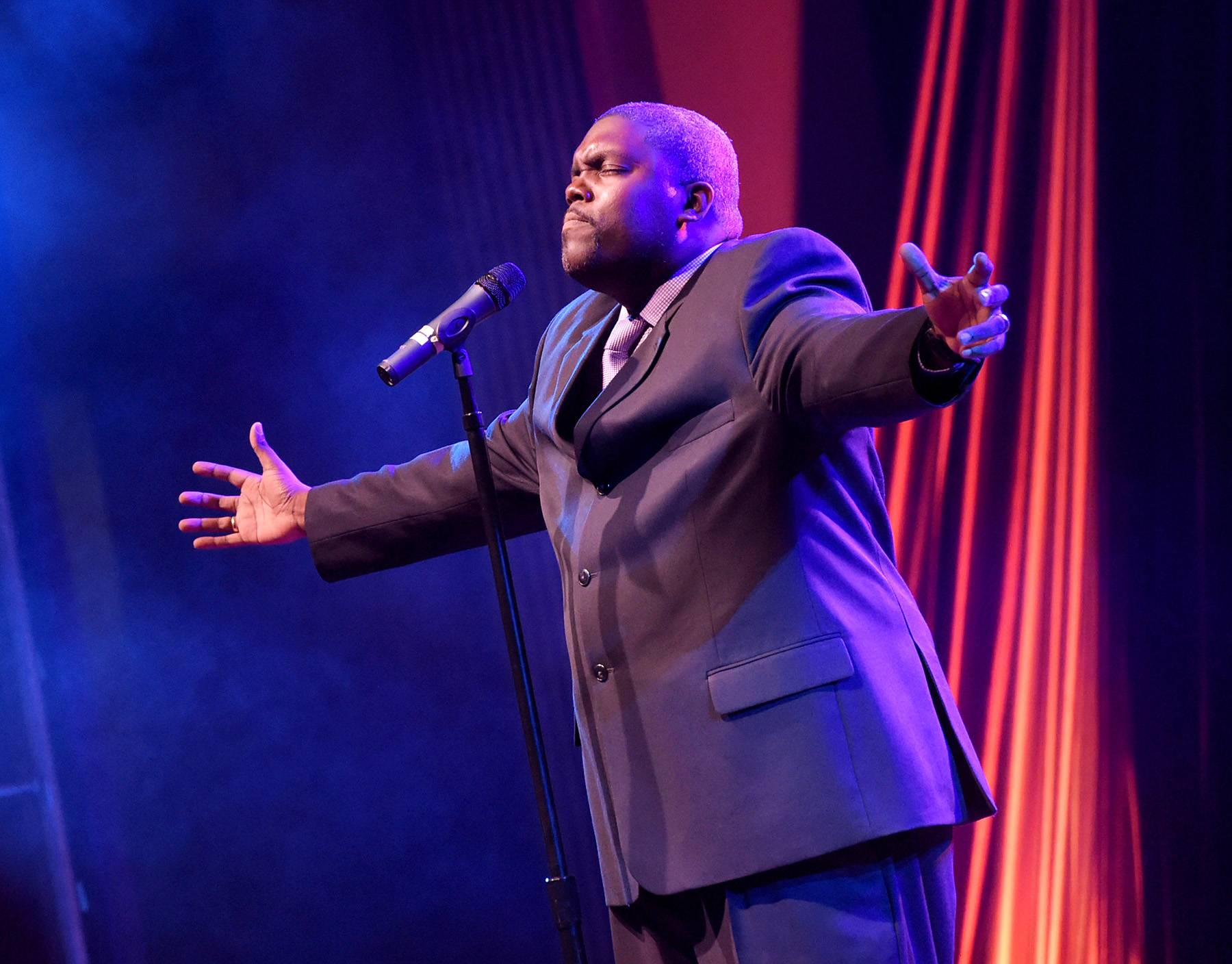 """William McDowell - We are all familiar with the hit track """"Give Myself Away"""" and the unforgettable album Withholding Nothing. Most of us can attest to the gift that God has given William McDowell to tell a honest, heartfelt testimony to Christ through music.(Photo: Rick Diamond/Getty Images for Dove Awards)"""