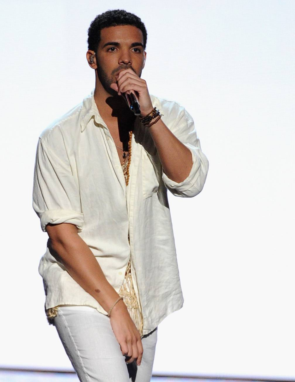 """Drake - Drake doesn?t give props to everybody but considers the ?Jesus Walks? MC a god.?At the end of the day, I look up to Ye,"""" he said. """"? He?s a major influence if not the biggest influence in my career. Kanye?s mentored me through his decisions and I study the game overall, but him very closely.?(Photo: Kevin Winter/Getty Images)"""